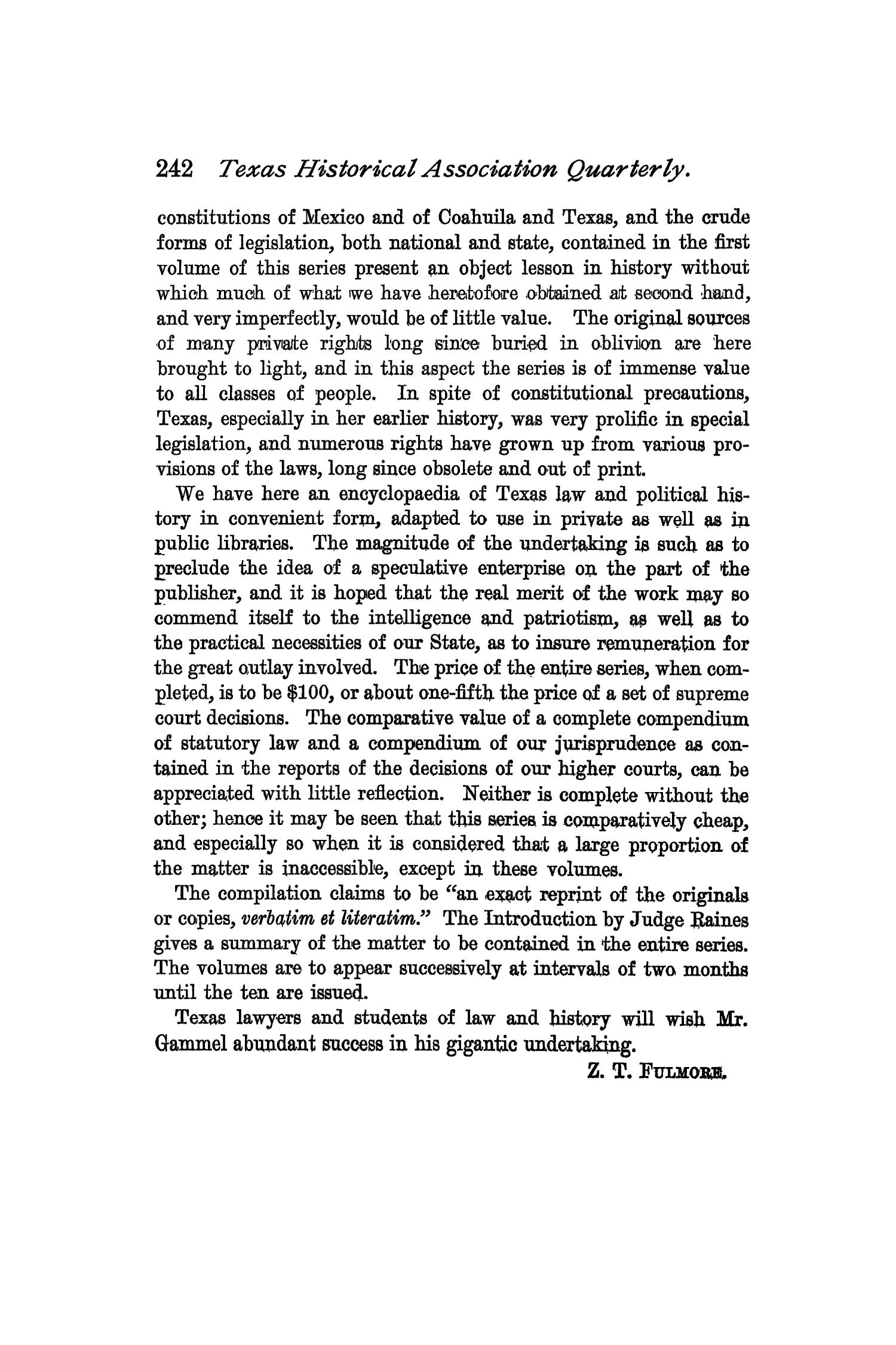 The Quarterly of the Texas State Historical Association, Volume 2, July 1898 - April, 1899                                                                                                      242