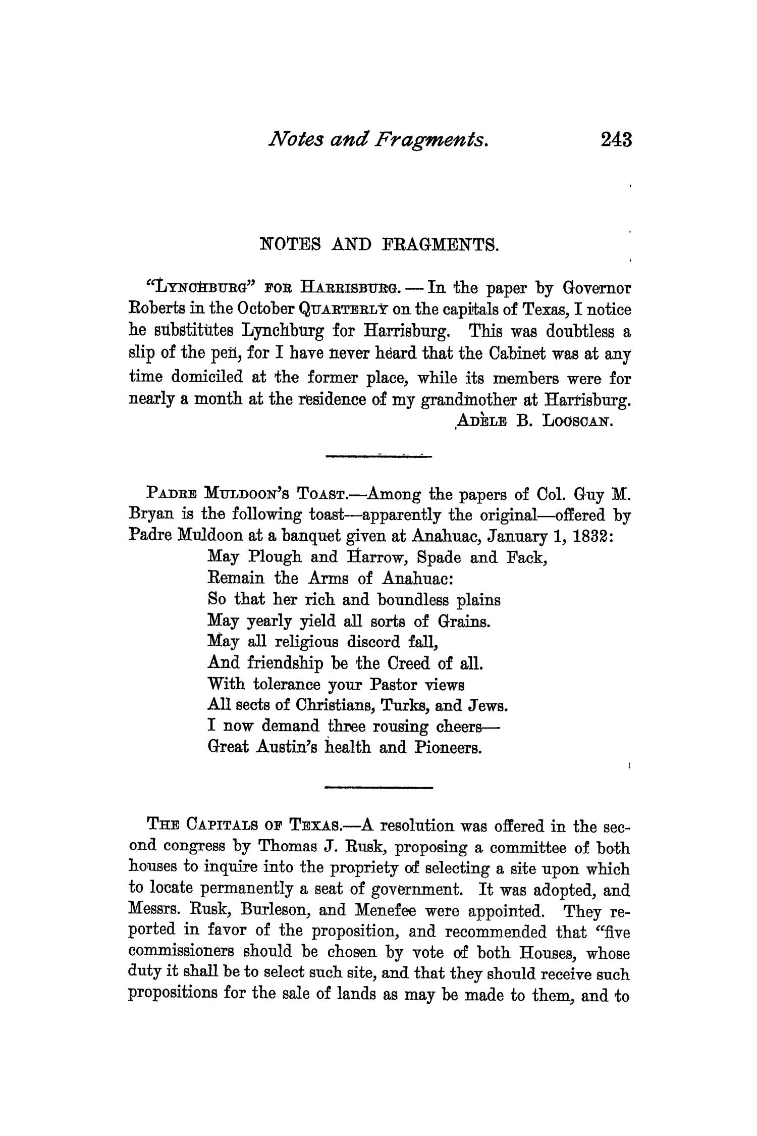 The Quarterly of the Texas State Historical Association, Volume 2, July 1898 - April, 1899                                                                                                      243