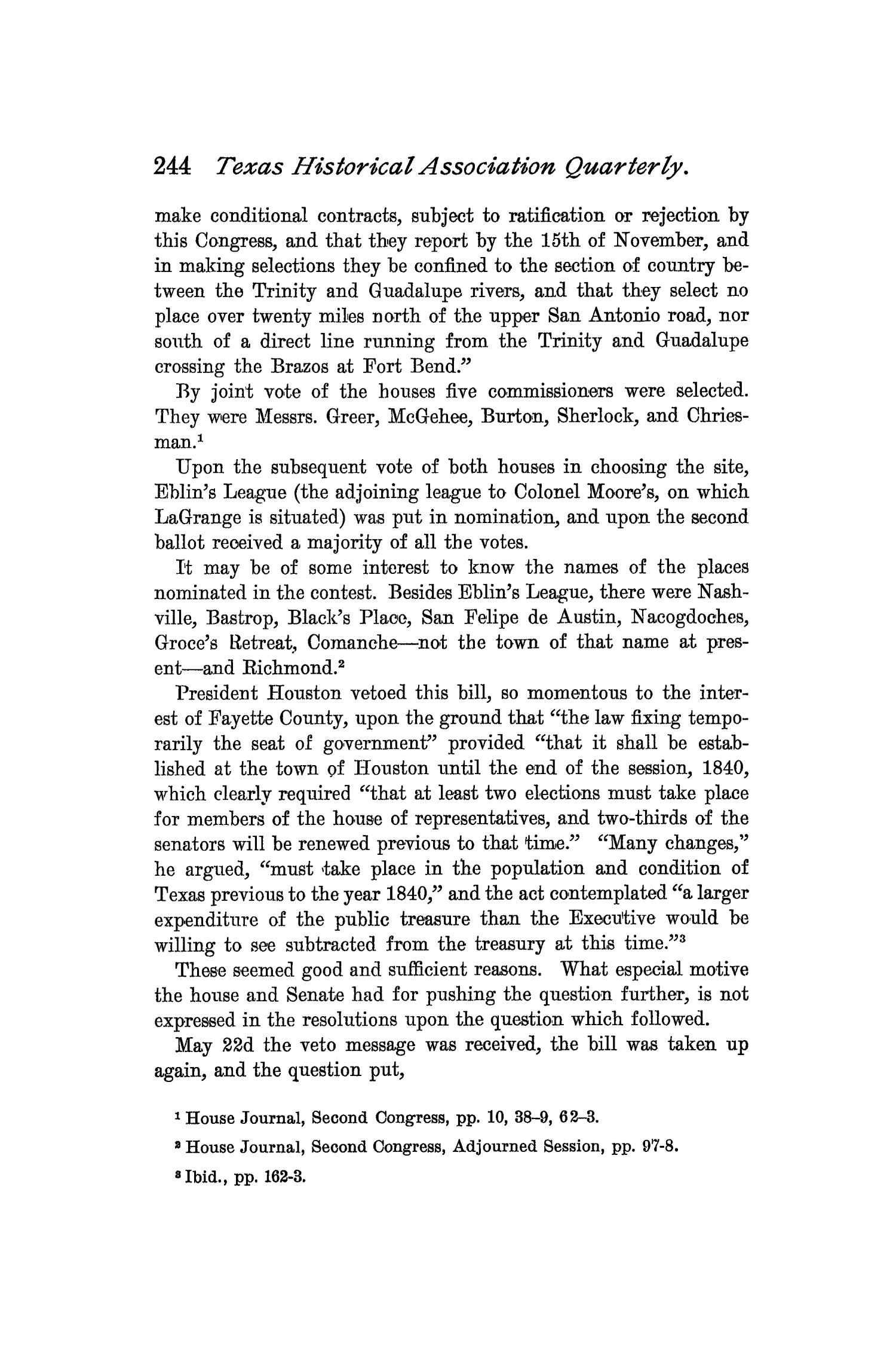 The Quarterly of the Texas State Historical Association, Volume 2, July 1898 - April, 1899                                                                                                      244