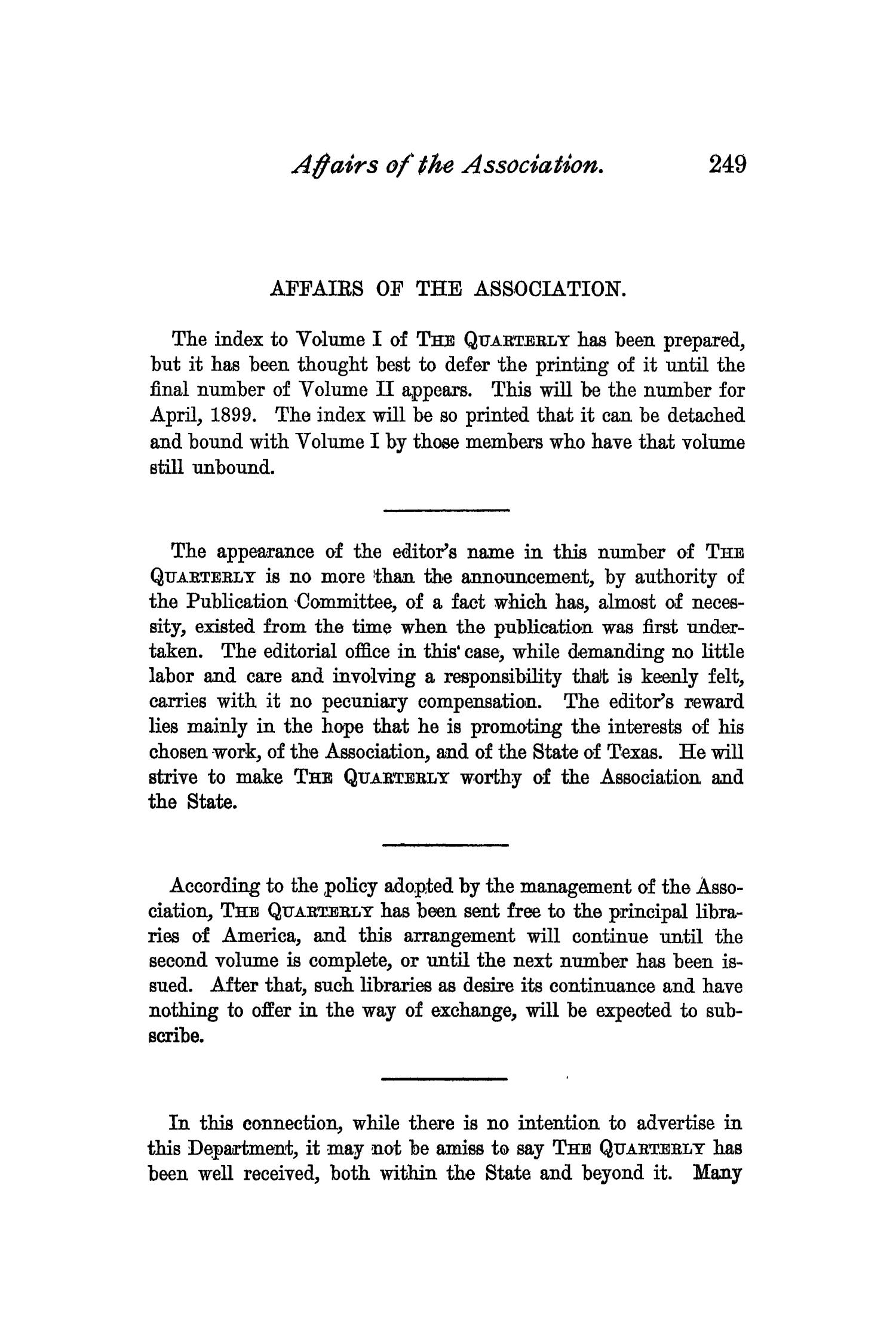 The Quarterly of the Texas State Historical Association, Volume 2, July 1898 - April, 1899                                                                                                      249