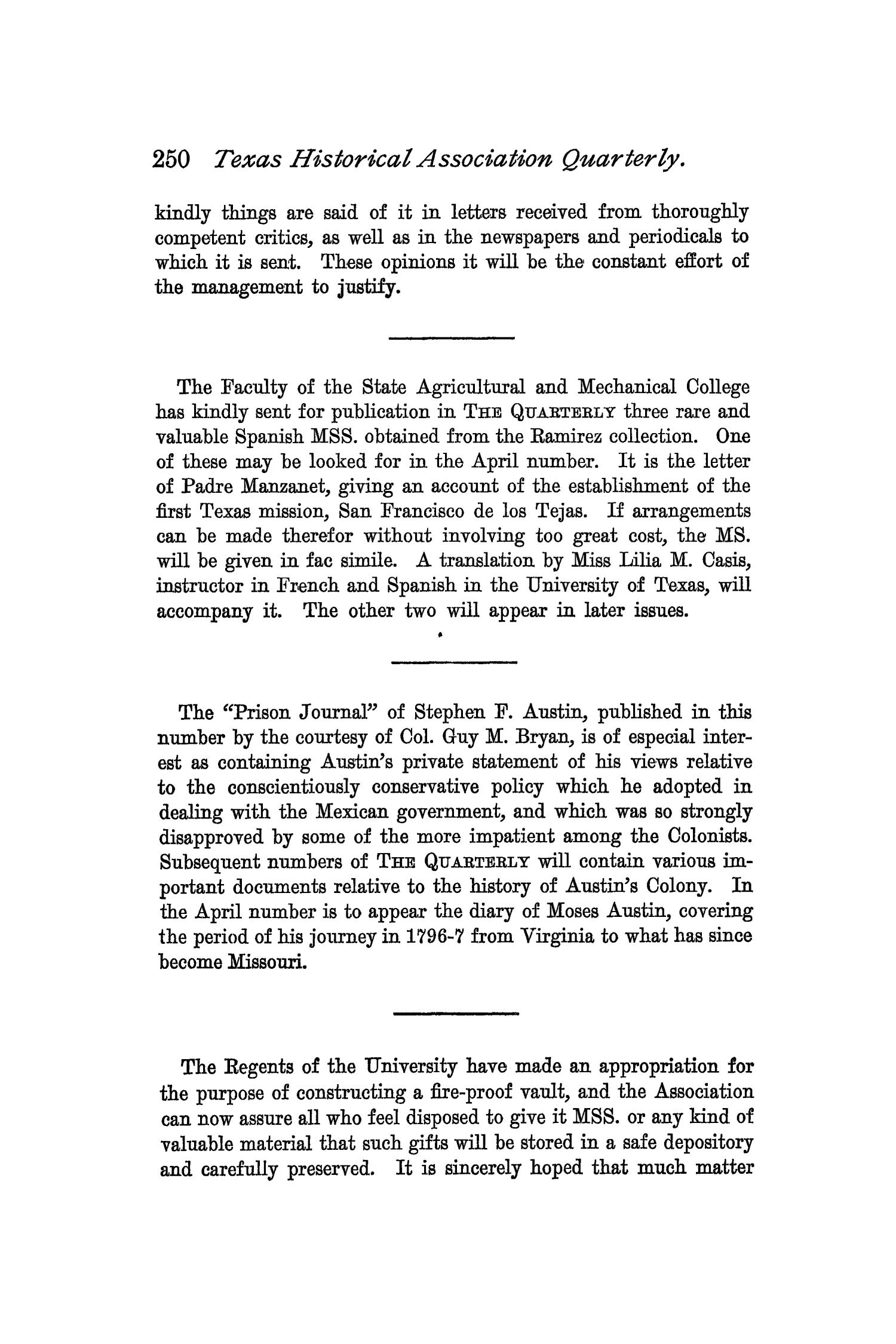 The Quarterly of the Texas State Historical Association, Volume 2, July 1898 - April, 1899                                                                                                      250