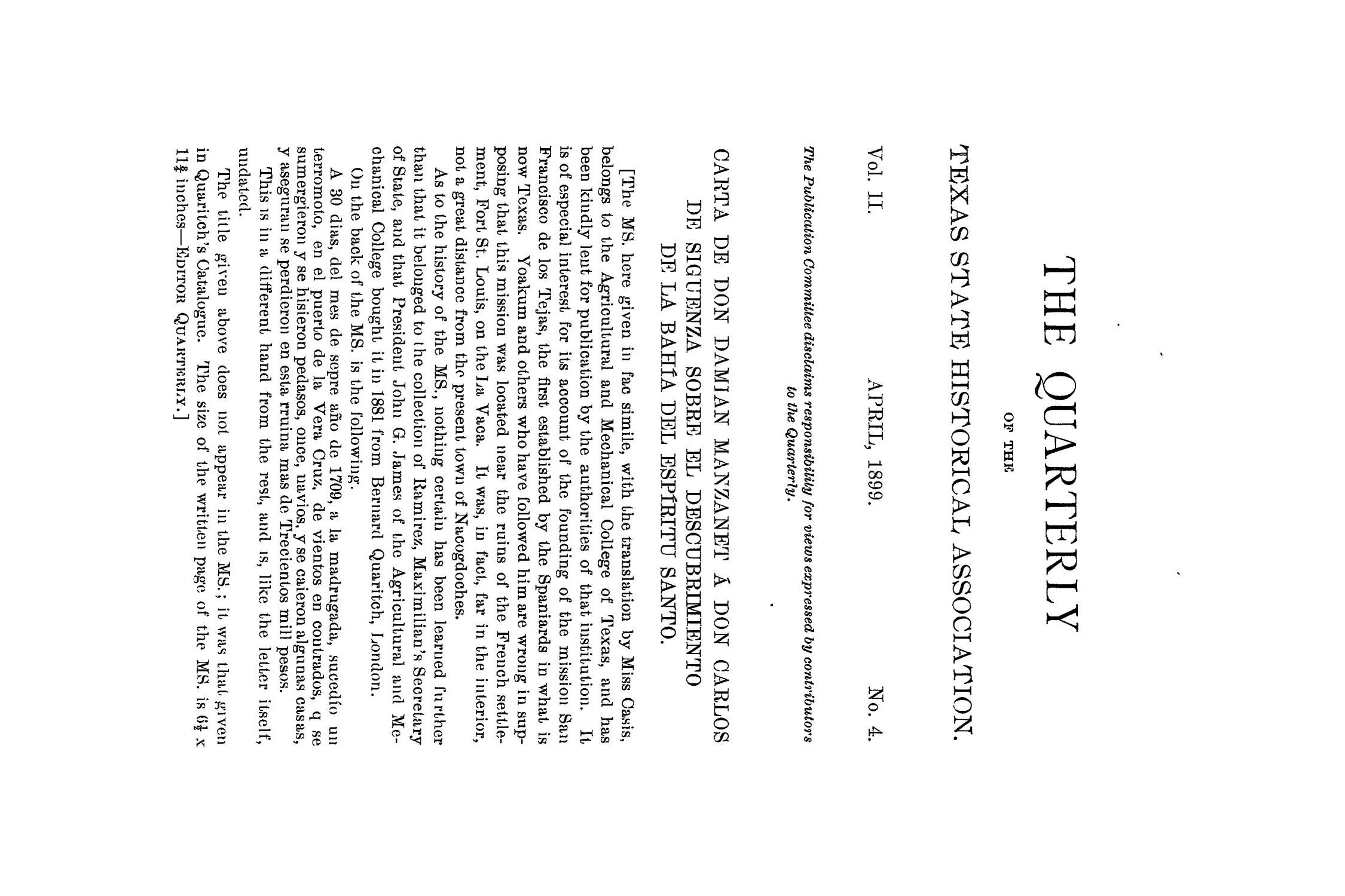 The Quarterly of the Texas State Historical Association, Volume 2, July 1898 - April, 1899                                                                                                      253