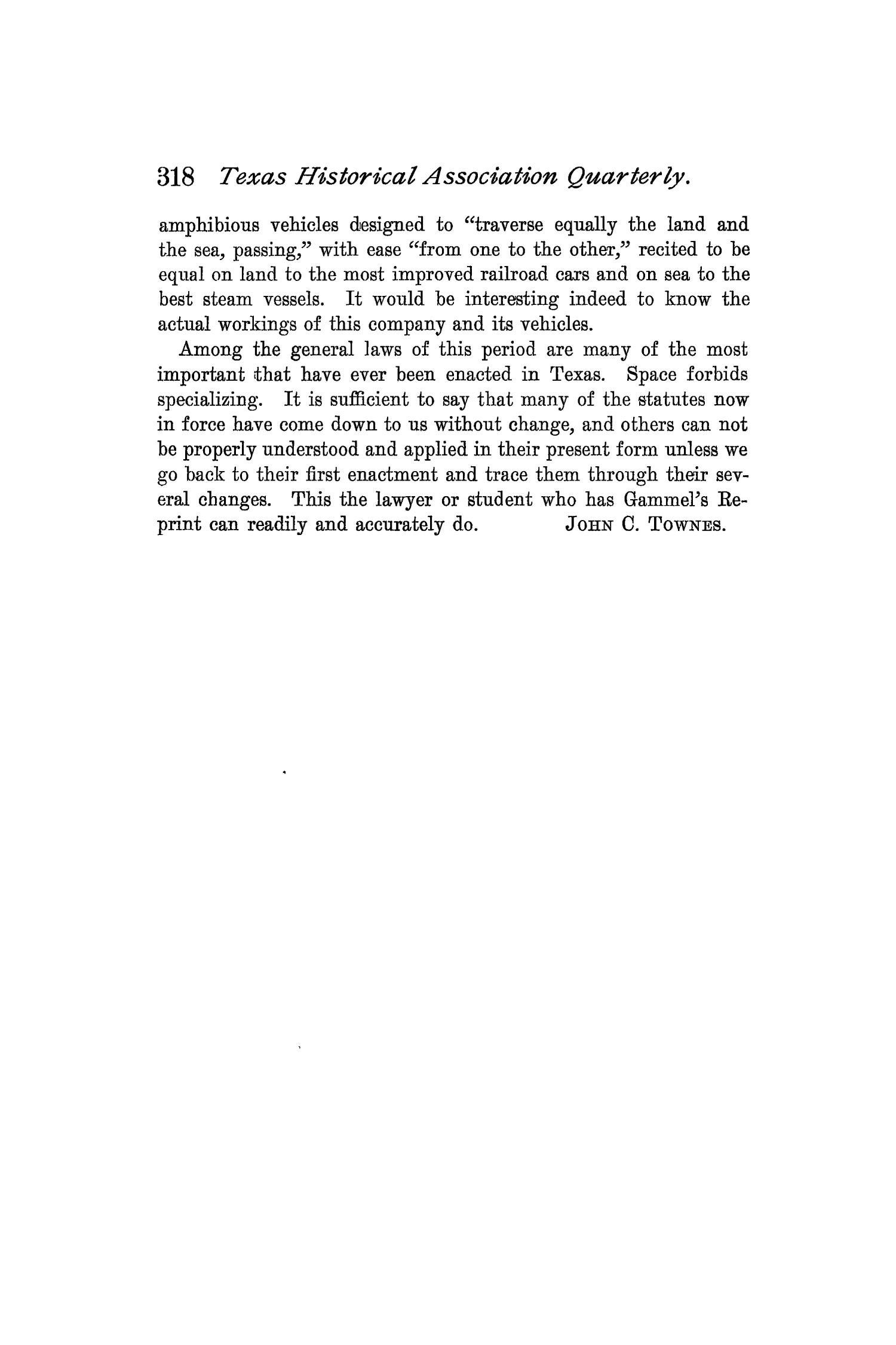 The Quarterly of the Texas State Historical Association, Volume 2, July 1898 - April, 1899                                                                                                      318