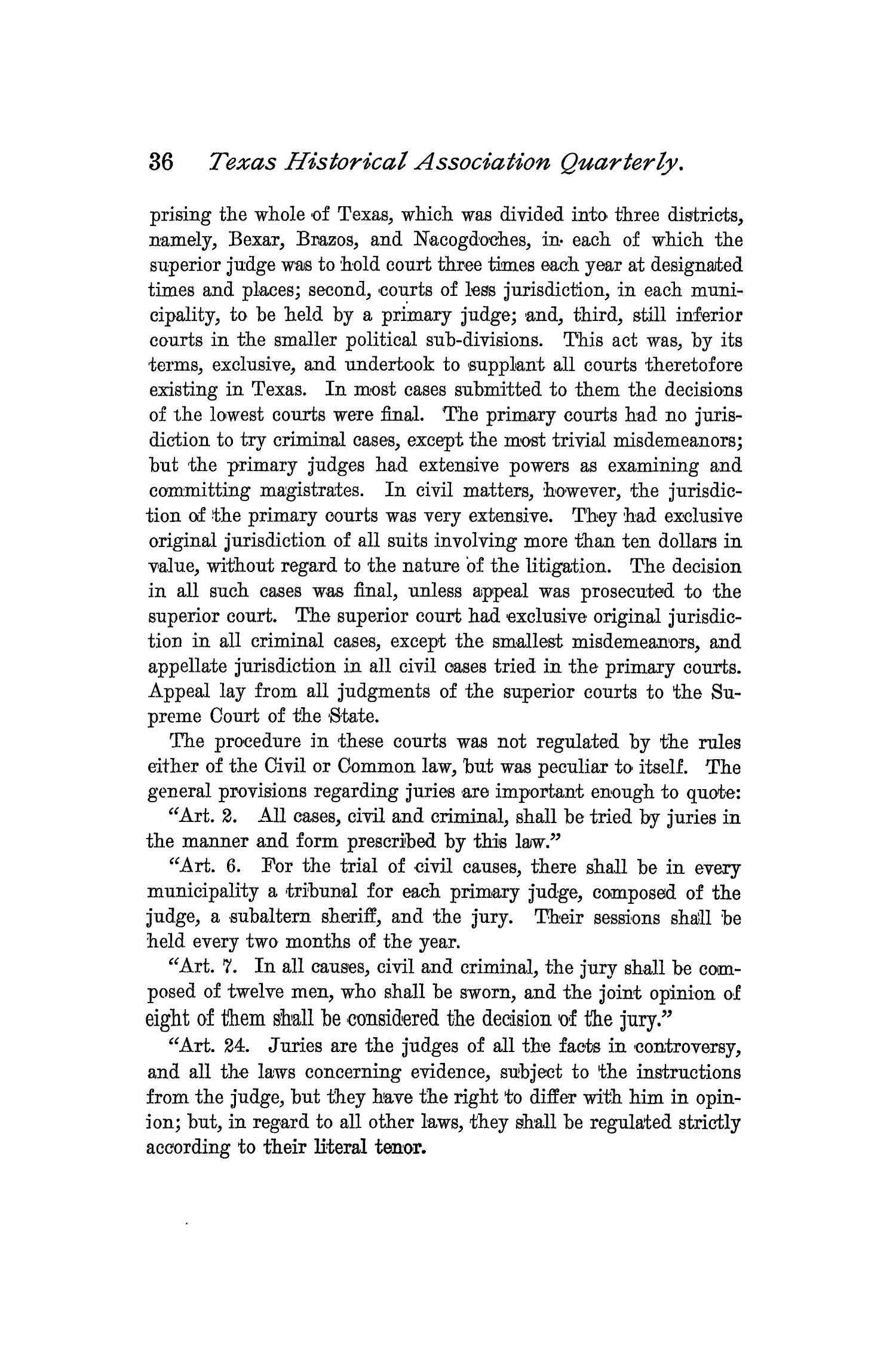 The Quarterly of the Texas State Historical Association, Volume 2, July 1898 - April, 1899                                                                                                      36