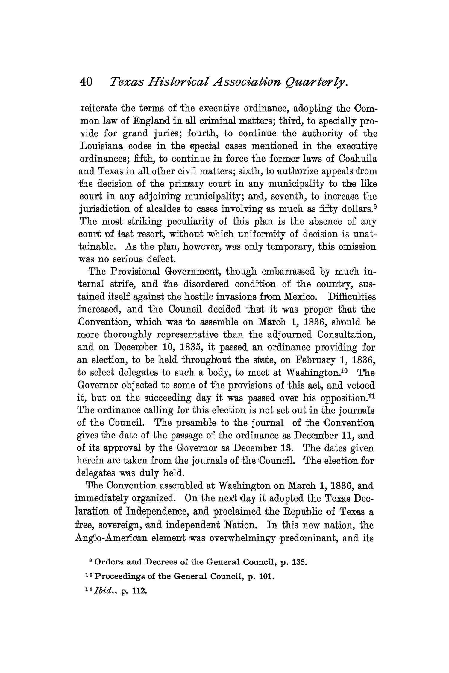 The Quarterly of the Texas State Historical Association, Volume 2, July 1898 - April, 1899                                                                                                      40