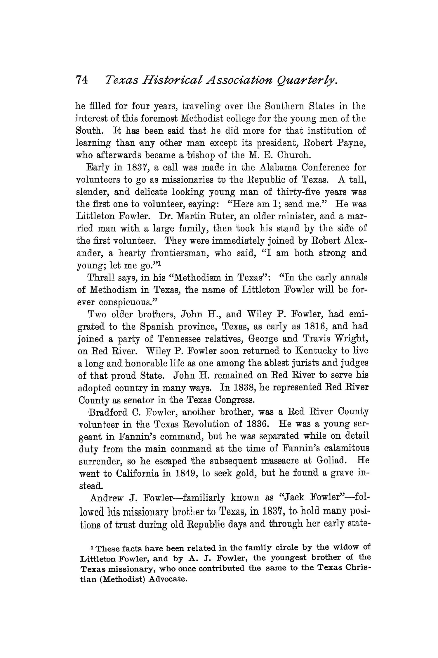 The Quarterly of the Texas State Historical Association, Volume 2, July 1898 - April, 1899                                                                                                      74
