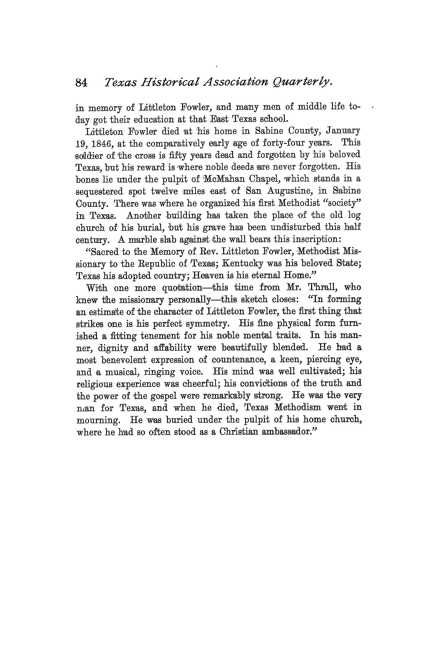 The Quarterly of the Texas State Historical Association, Volume 2, July 1898 - April, 1899                                                                                                      84