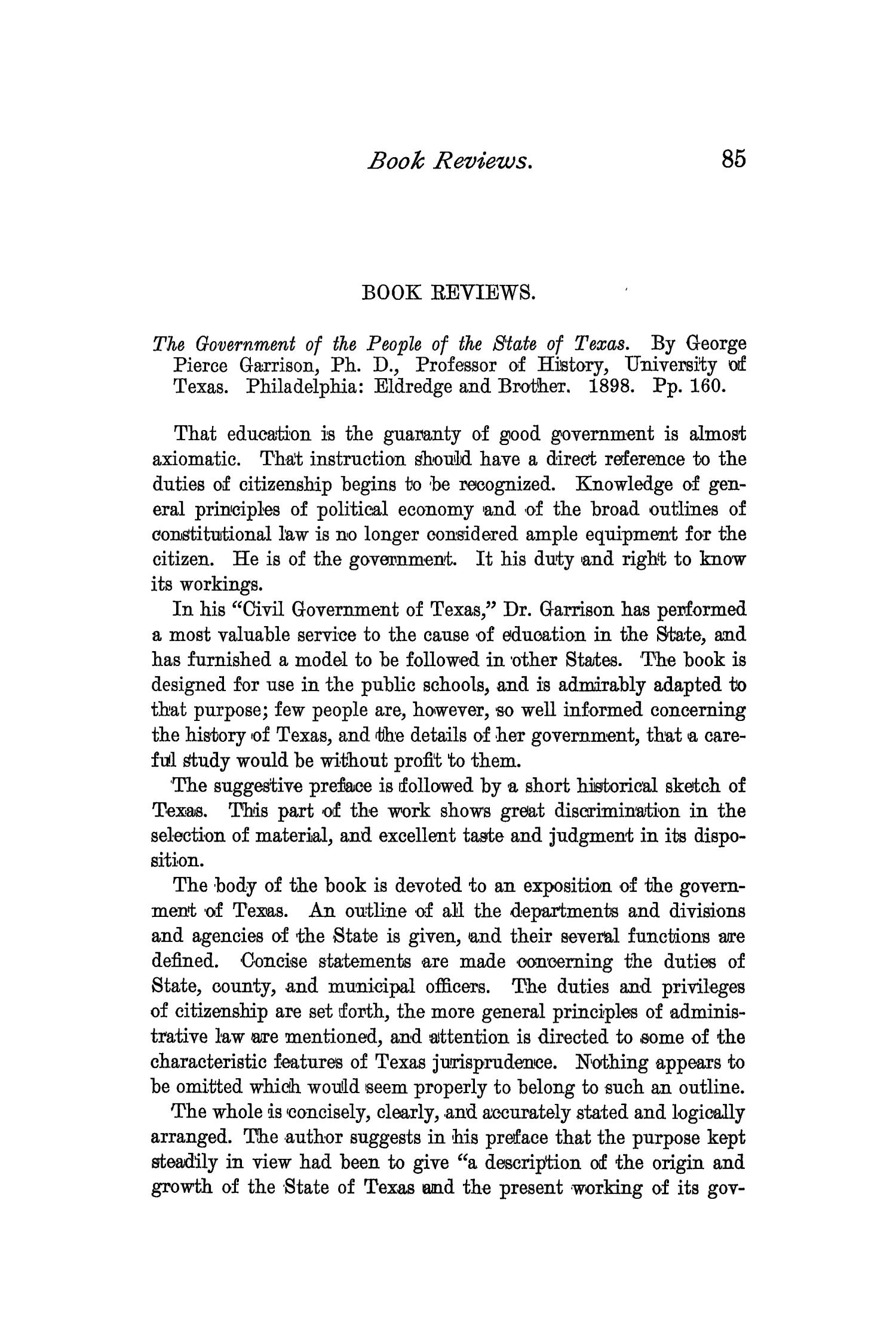 The Quarterly of the Texas State Historical Association, Volume 2, July 1898 - April, 1899                                                                                                      85