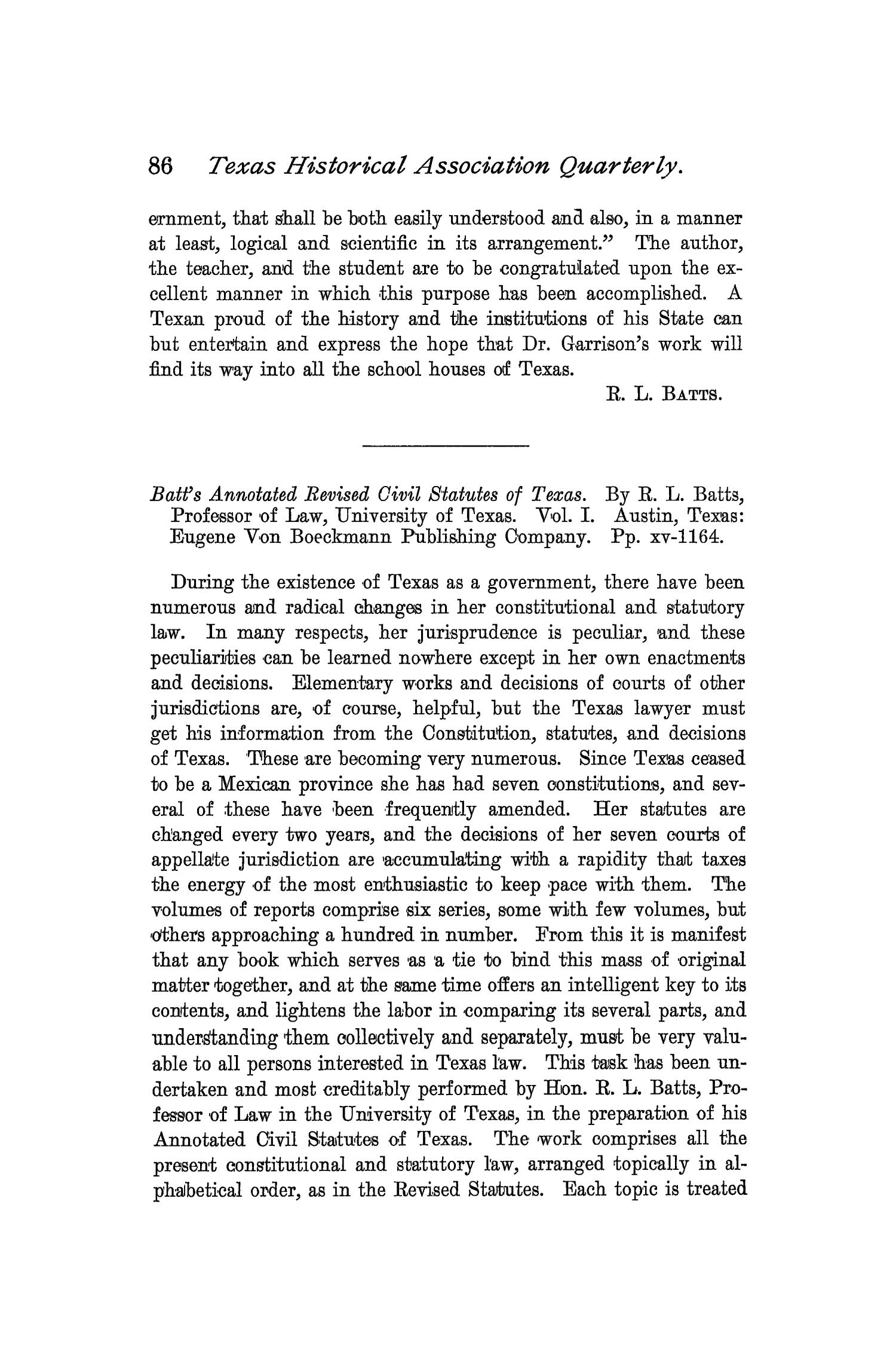 The Quarterly of the Texas State Historical Association, Volume 2, July 1898 - April, 1899                                                                                                      86