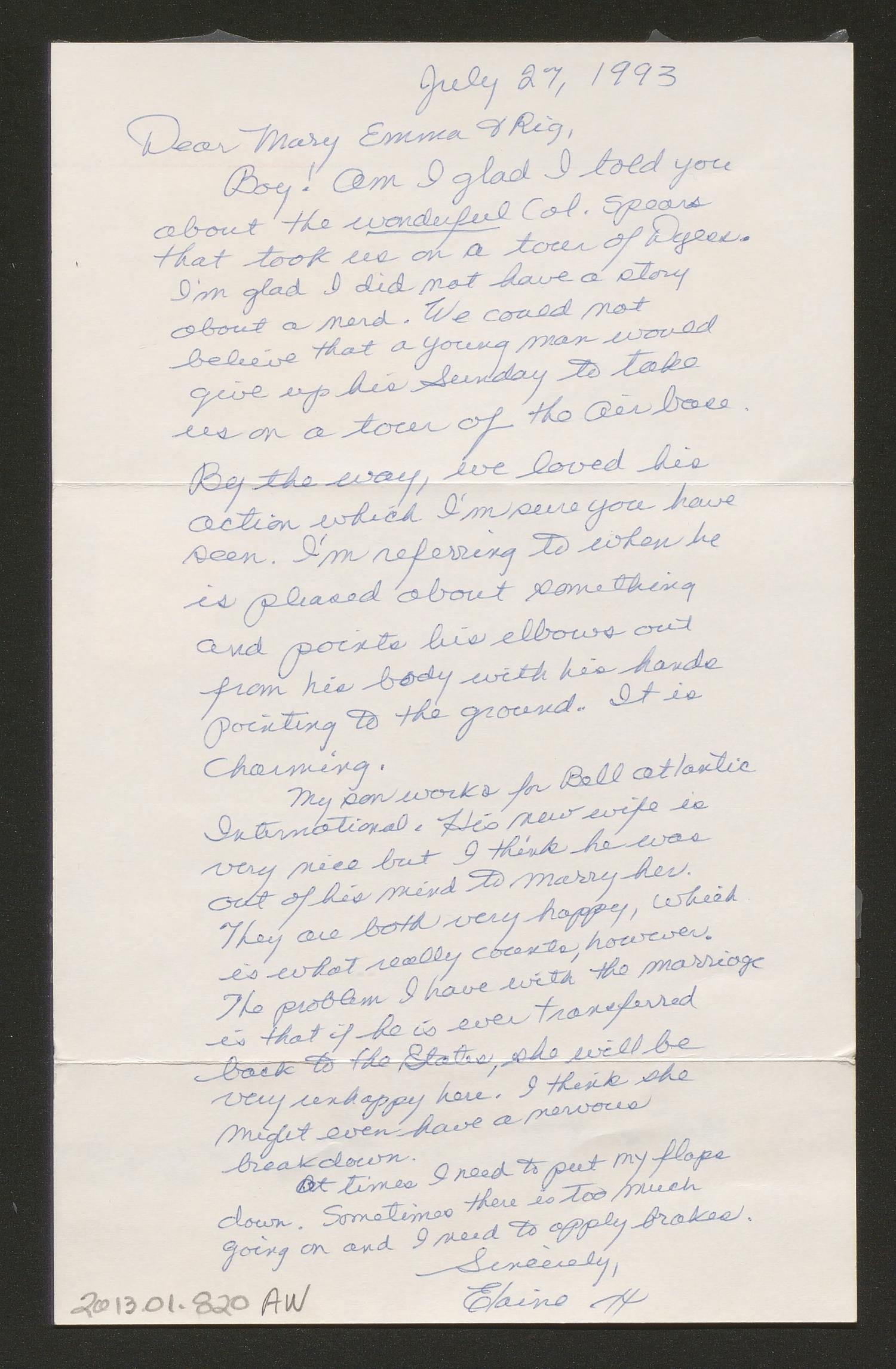 [Letter from Elaine Harmon to Rigdon and Mary Emma Edwards, July 27, 1993]                                                                                                      [Sequence #]: 2 of 3