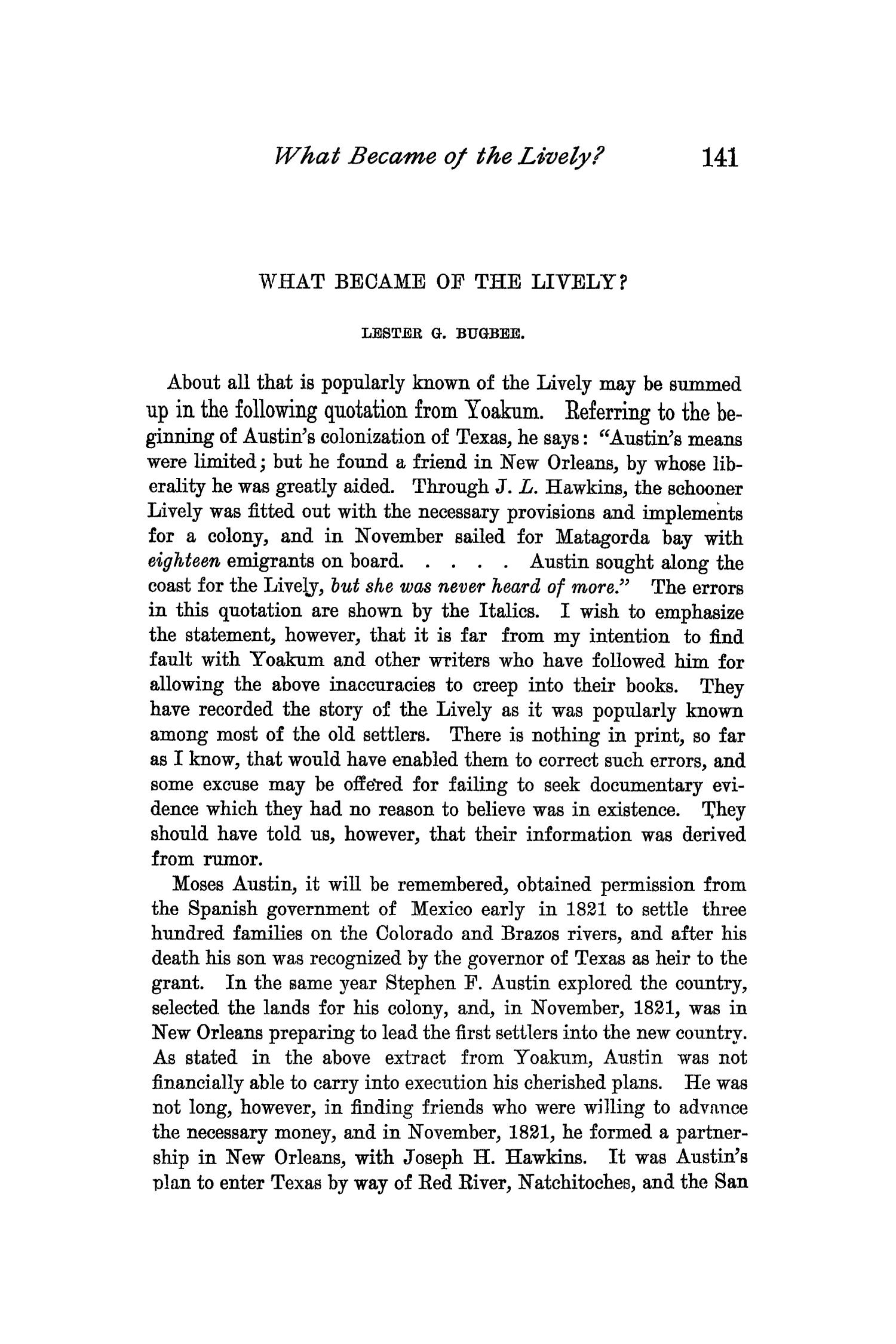 The Quarterly of the Texas State Historical Association, Volume 3, July 1899 - April, 1900                                                                                                      141