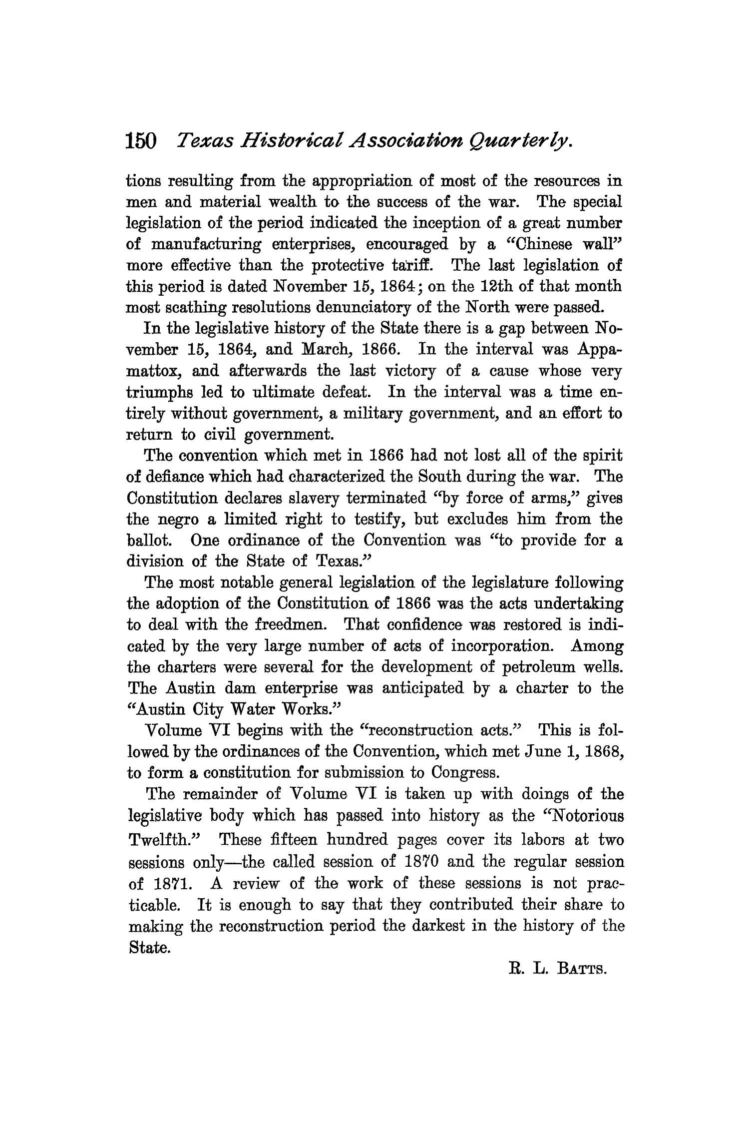 The Quarterly of the Texas State Historical Association, Volume 3, July 1899 - April, 1900                                                                                                      150