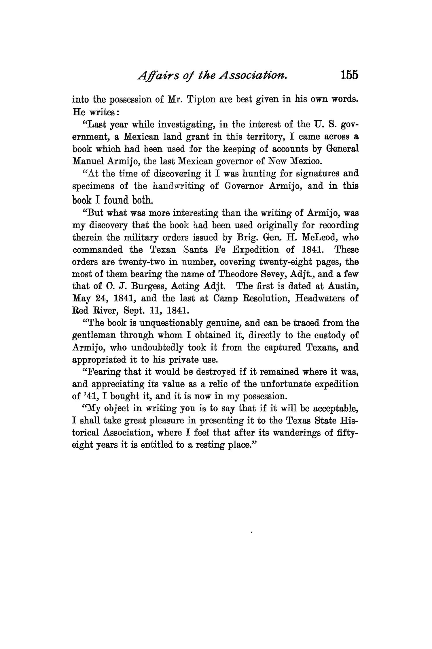 The Quarterly of the Texas State Historical Association, Volume 3, July 1899 - April, 1900                                                                                                      155