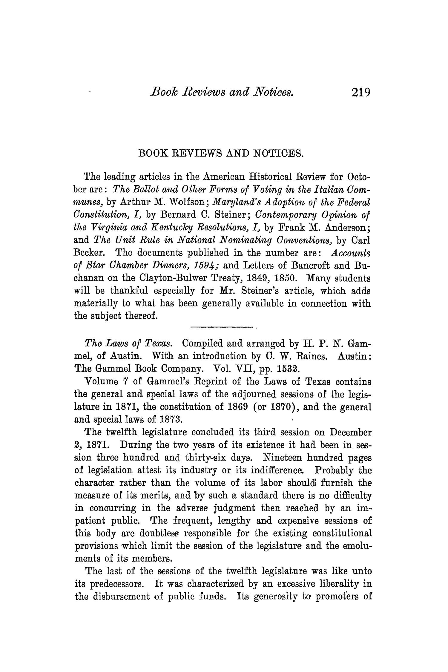 The Quarterly of the Texas State Historical Association, Volume 3, July 1899 - April, 1900                                                                                                      219
