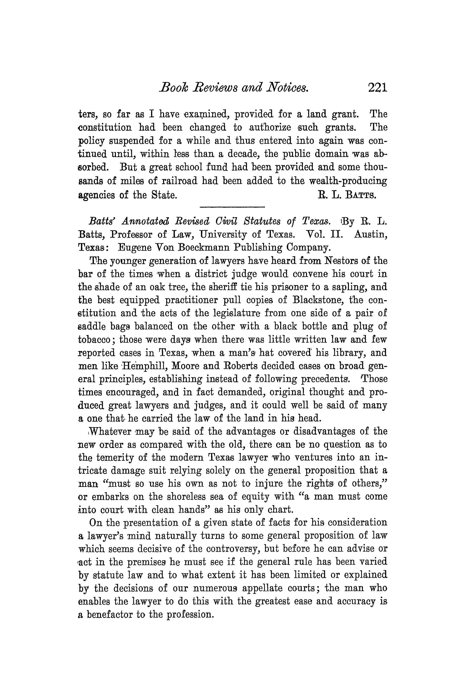 The Quarterly of the Texas State Historical Association, Volume 3, July 1899 - April, 1900                                                                                                      221