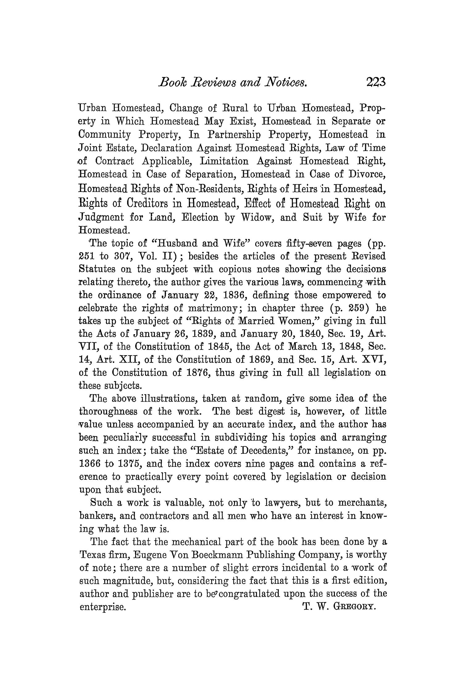 The Quarterly of the Texas State Historical Association, Volume 3, July 1899 - April, 1900                                                                                                      223