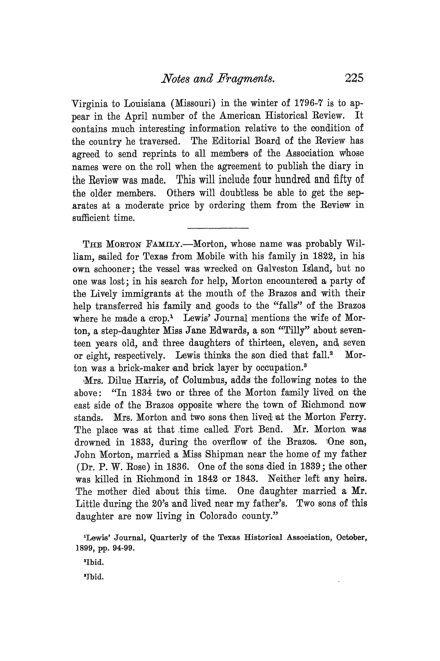 The Quarterly of the Texas State Historical Association, Volume 3, July 1899 - April, 1900                                                                                                      225