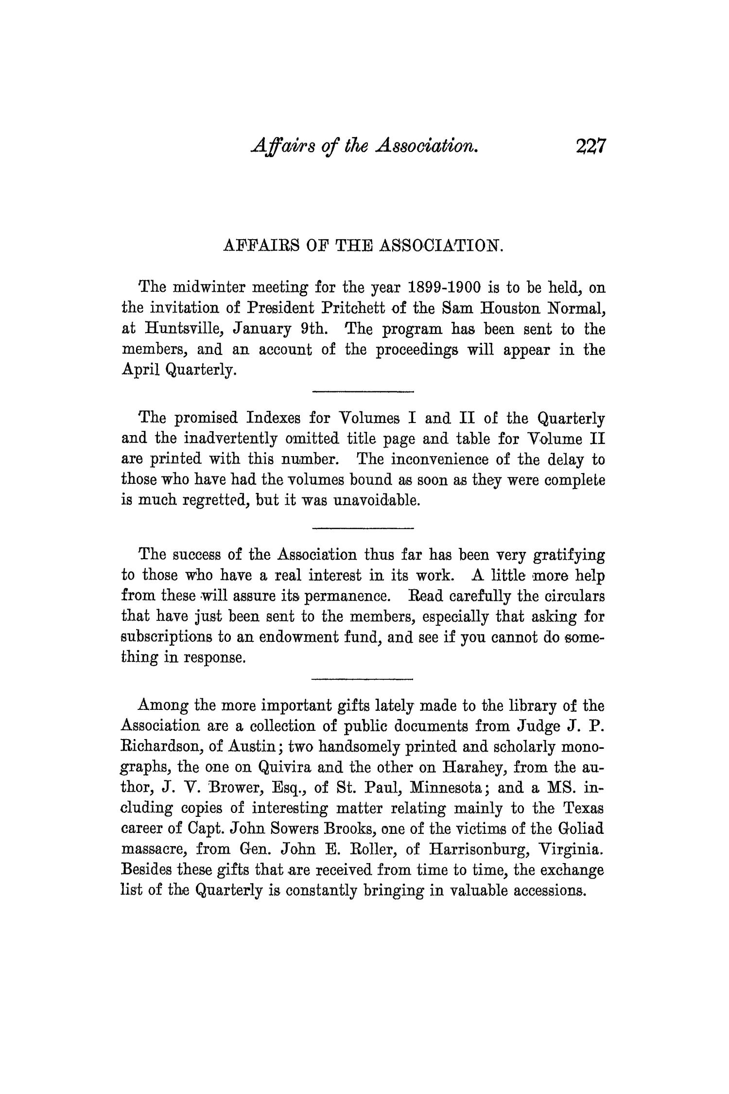 The Quarterly of the Texas State Historical Association, Volume 3, July 1899 - April, 1900                                                                                                      227