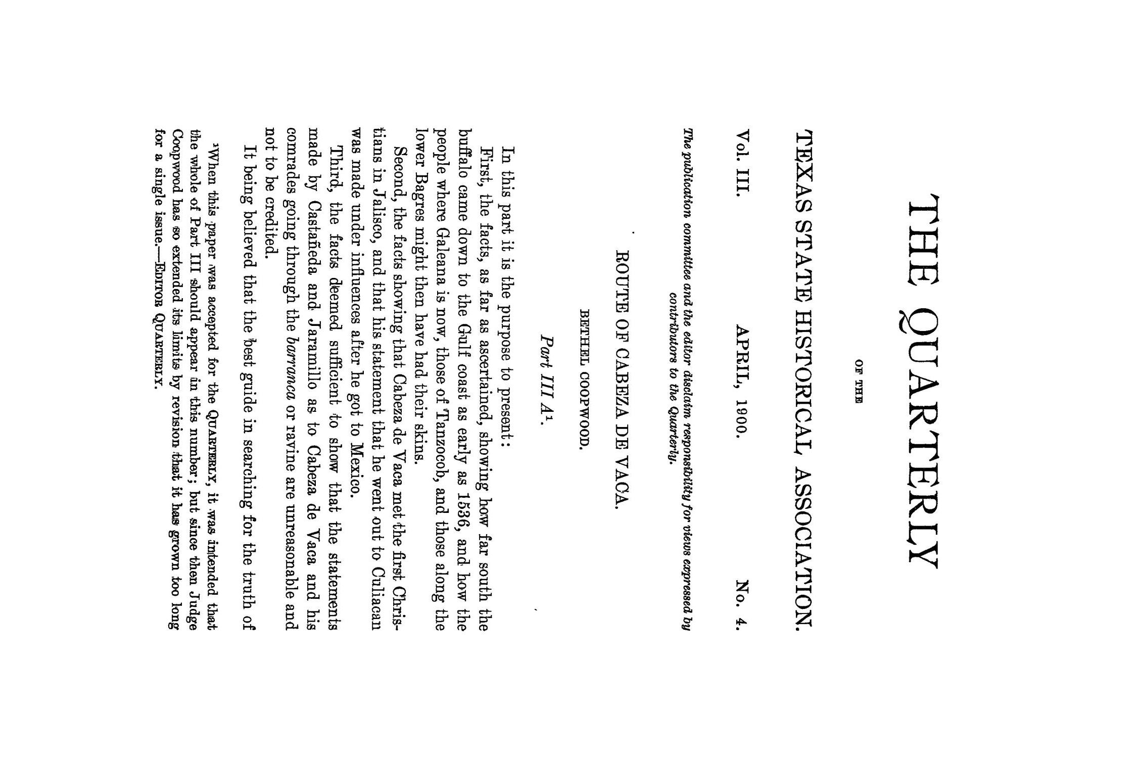 The Quarterly of the Texas State Historical Association, Volume 3, July 1899 - April, 1900                                                                                                      229