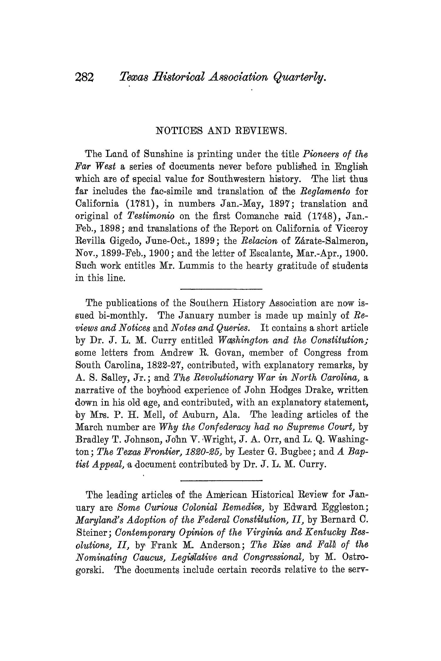 The Quarterly of the Texas State Historical Association, Volume 3, July 1899 - April, 1900                                                                                                      282