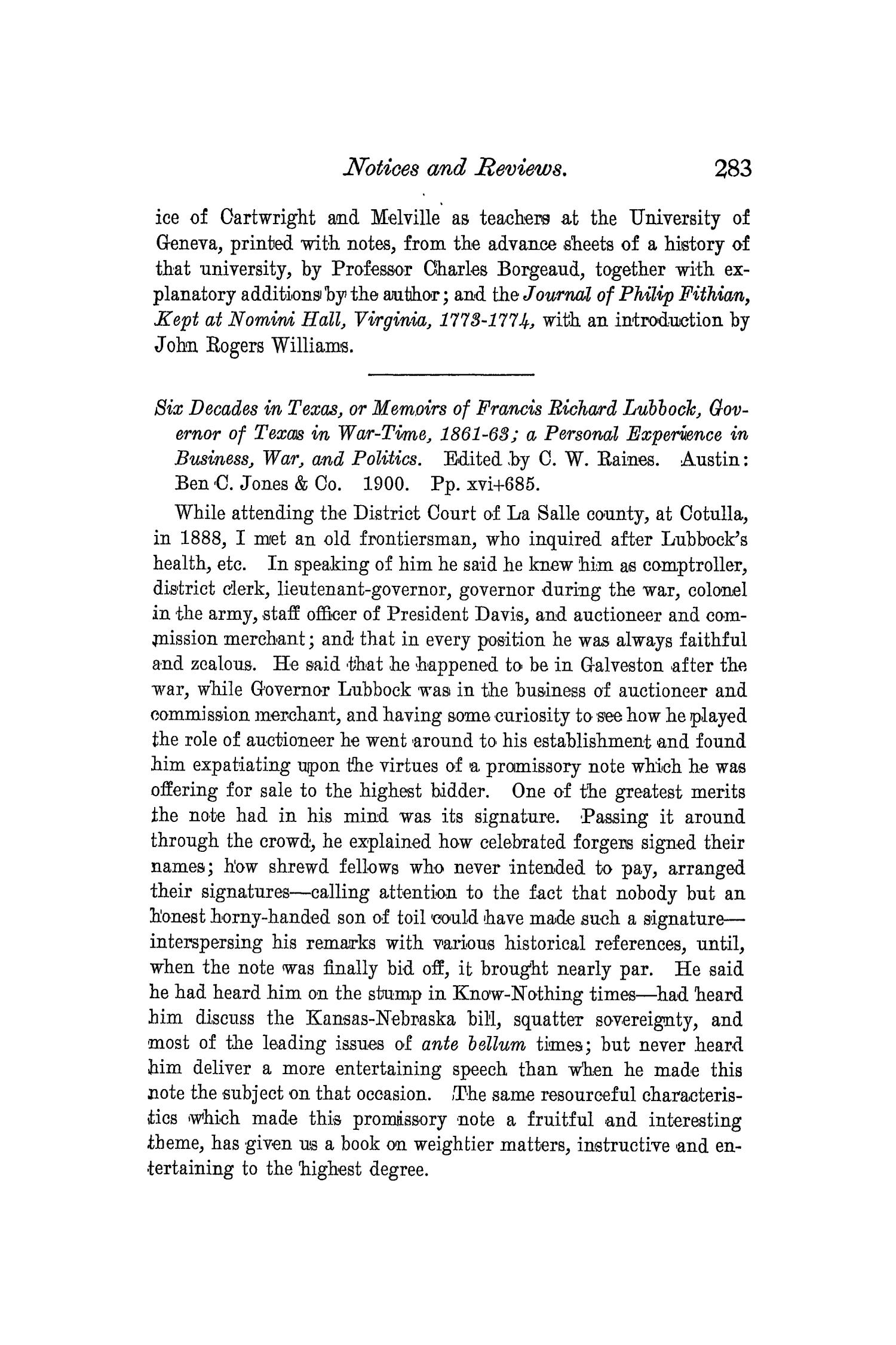The Quarterly of the Texas State Historical Association, Volume 3, July 1899 - April, 1900                                                                                                      283