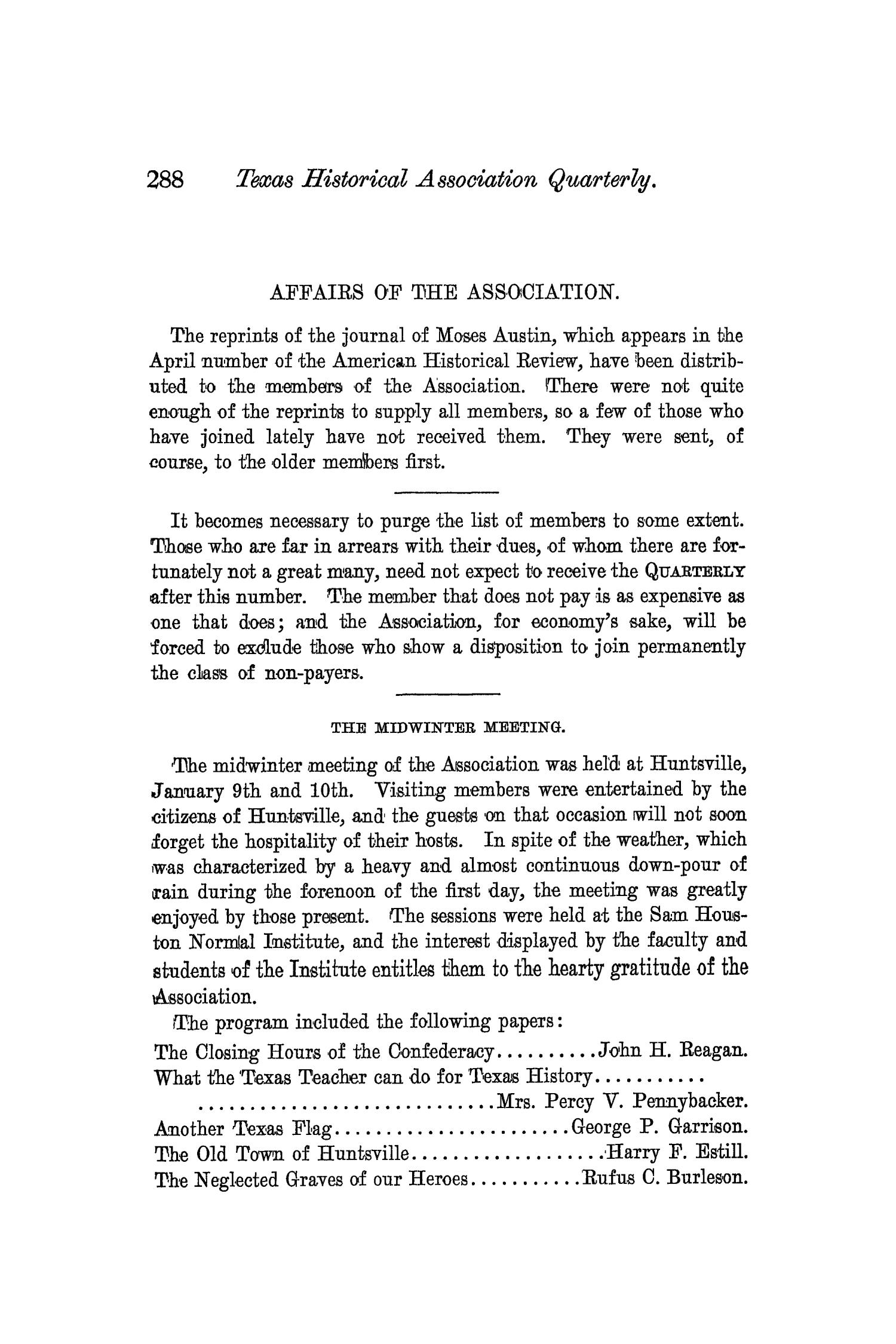 The Quarterly of the Texas State Historical Association, Volume 3, July 1899 - April, 1900                                                                                                      288