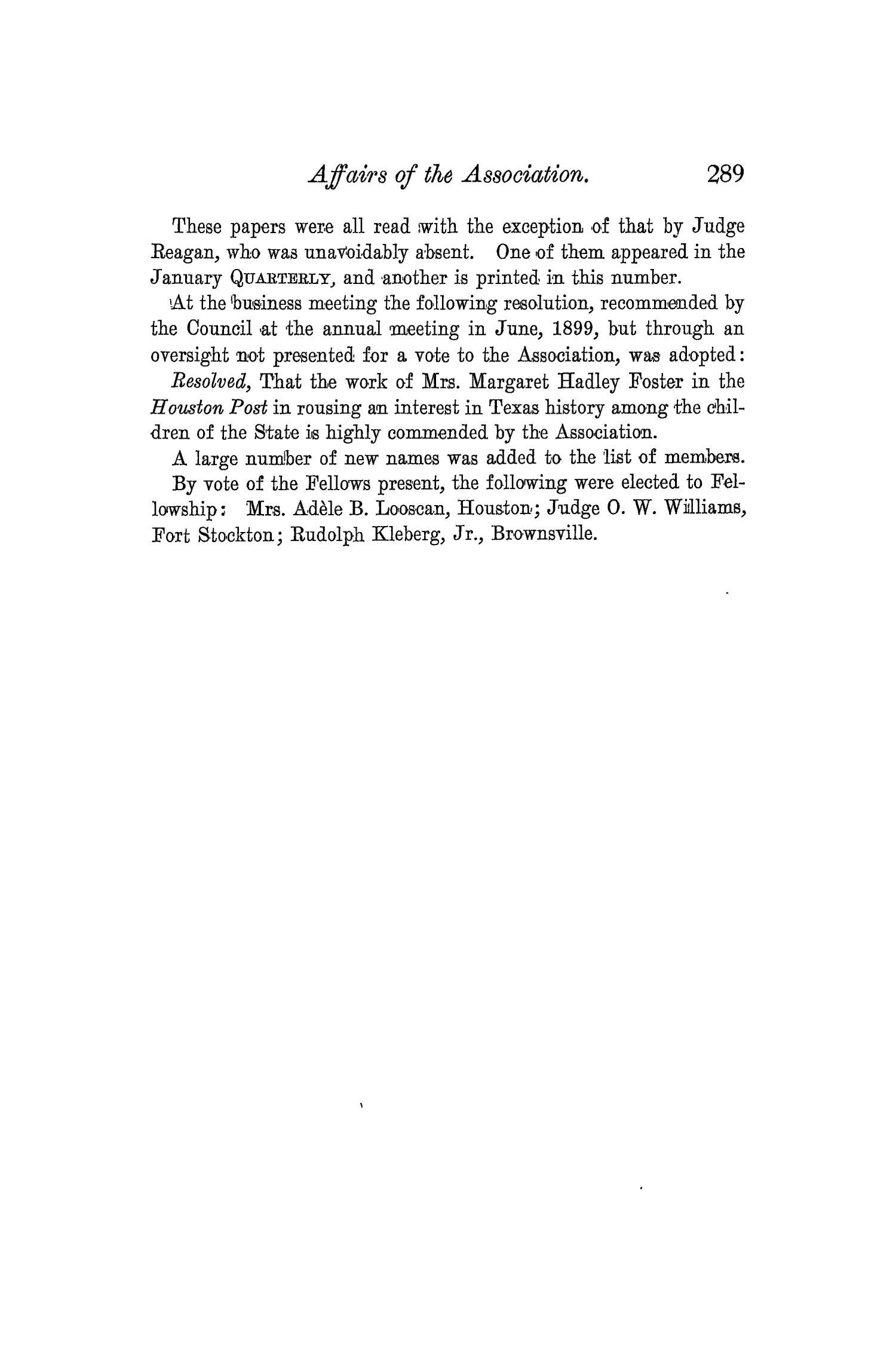 The Quarterly of the Texas State Historical Association, Volume 3, July 1899 - April, 1900                                                                                                      289