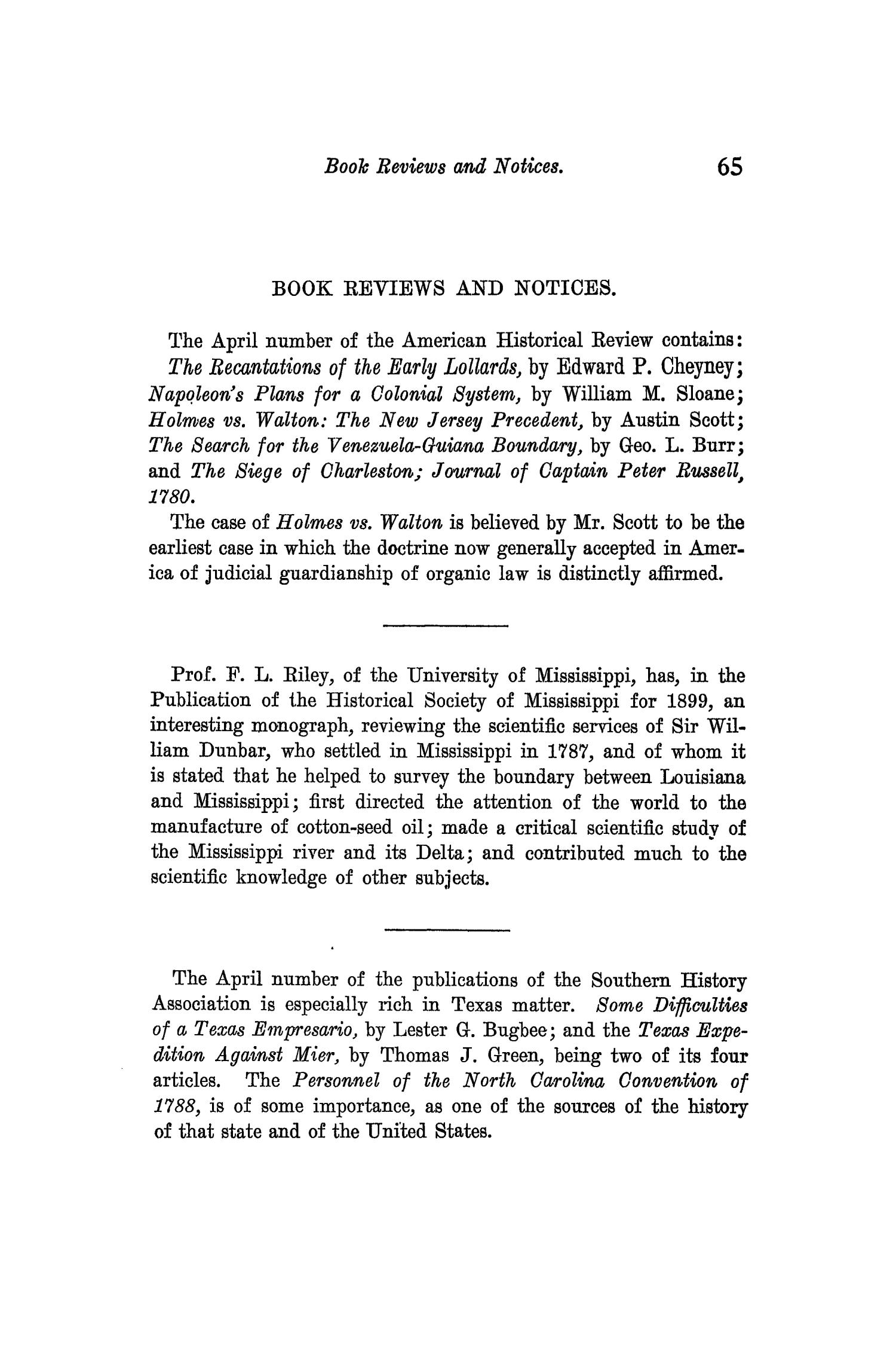 The Quarterly of the Texas State Historical Association, Volume 3, July 1899 - April, 1900                                                                                                      65