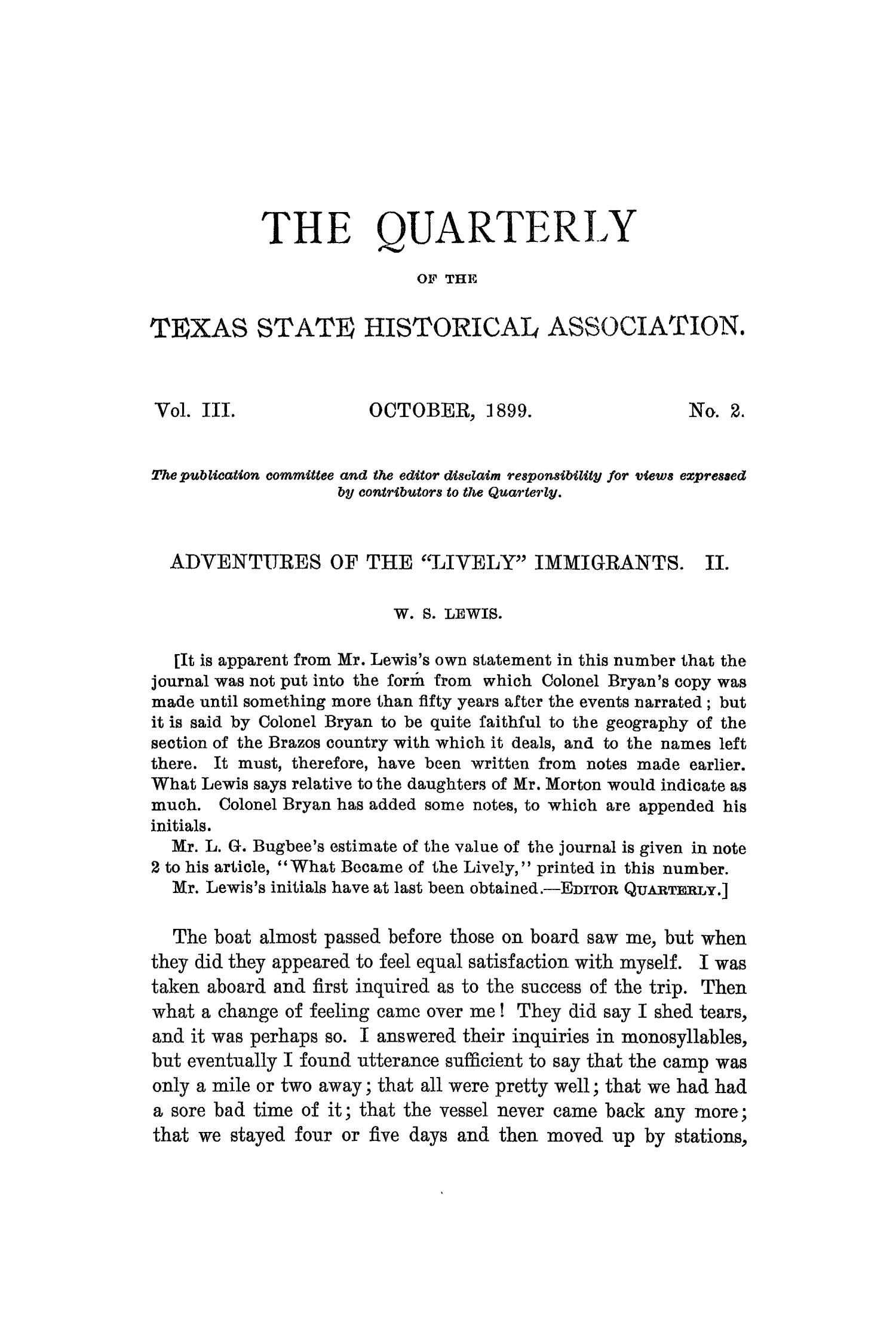 The Quarterly of the Texas State Historical Association, Volume 3, July 1899 - April, 1900                                                                                                      81