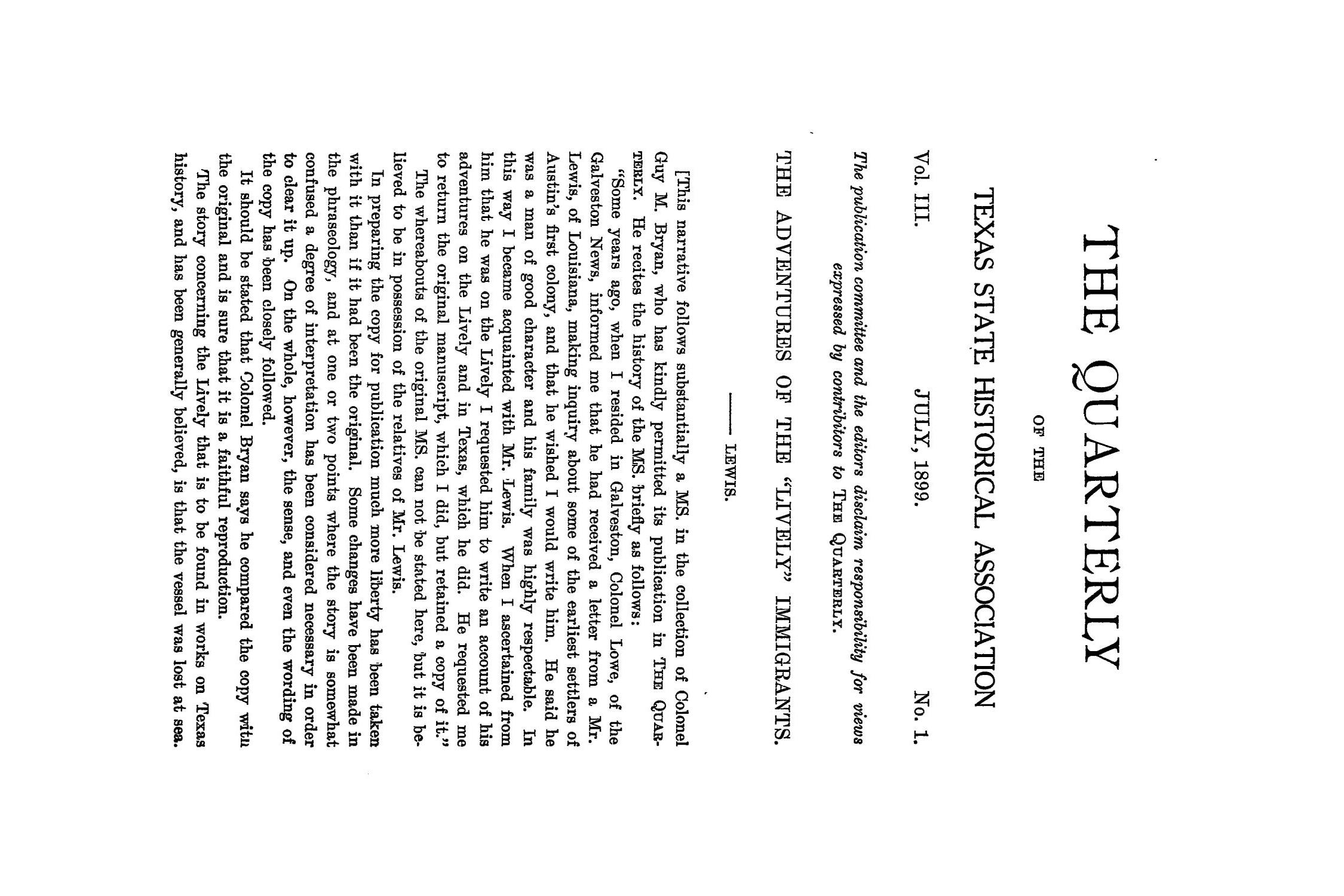 The Quarterly of the Texas State Historical Association, Volume 3, July 1899 - April, 1900                                                                                                      1