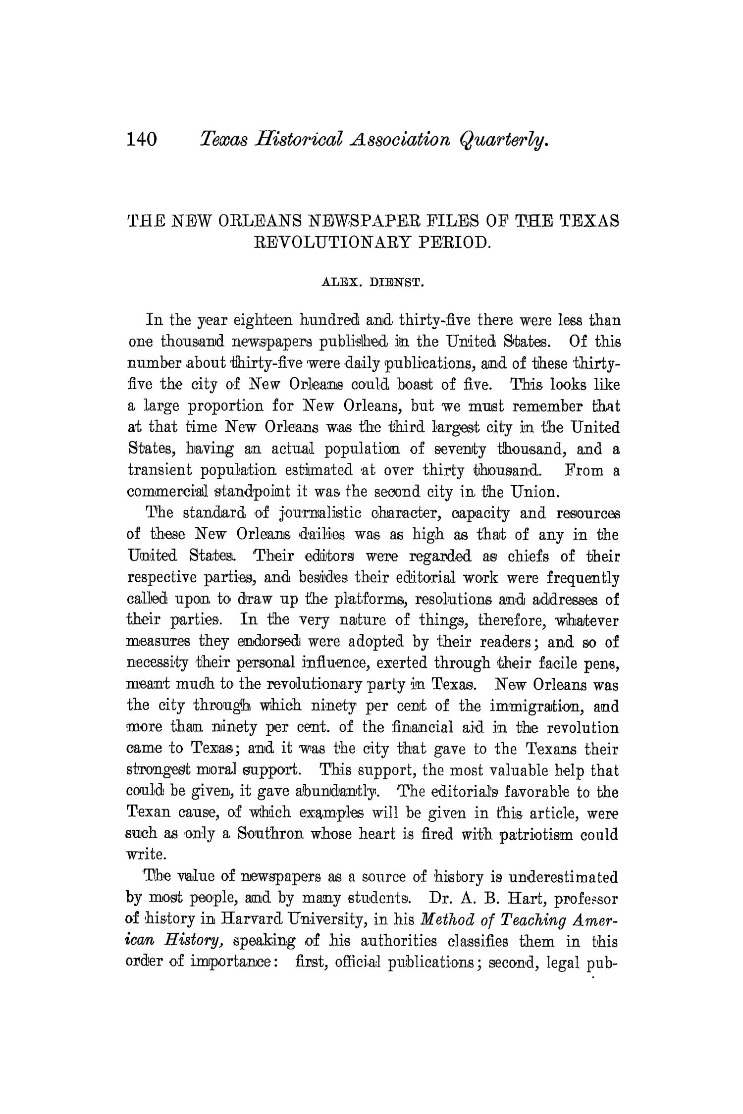 The Quarterly of the Texas State Historical Association, Volume 4, July 1900 - April, 1901                                                                                                      140