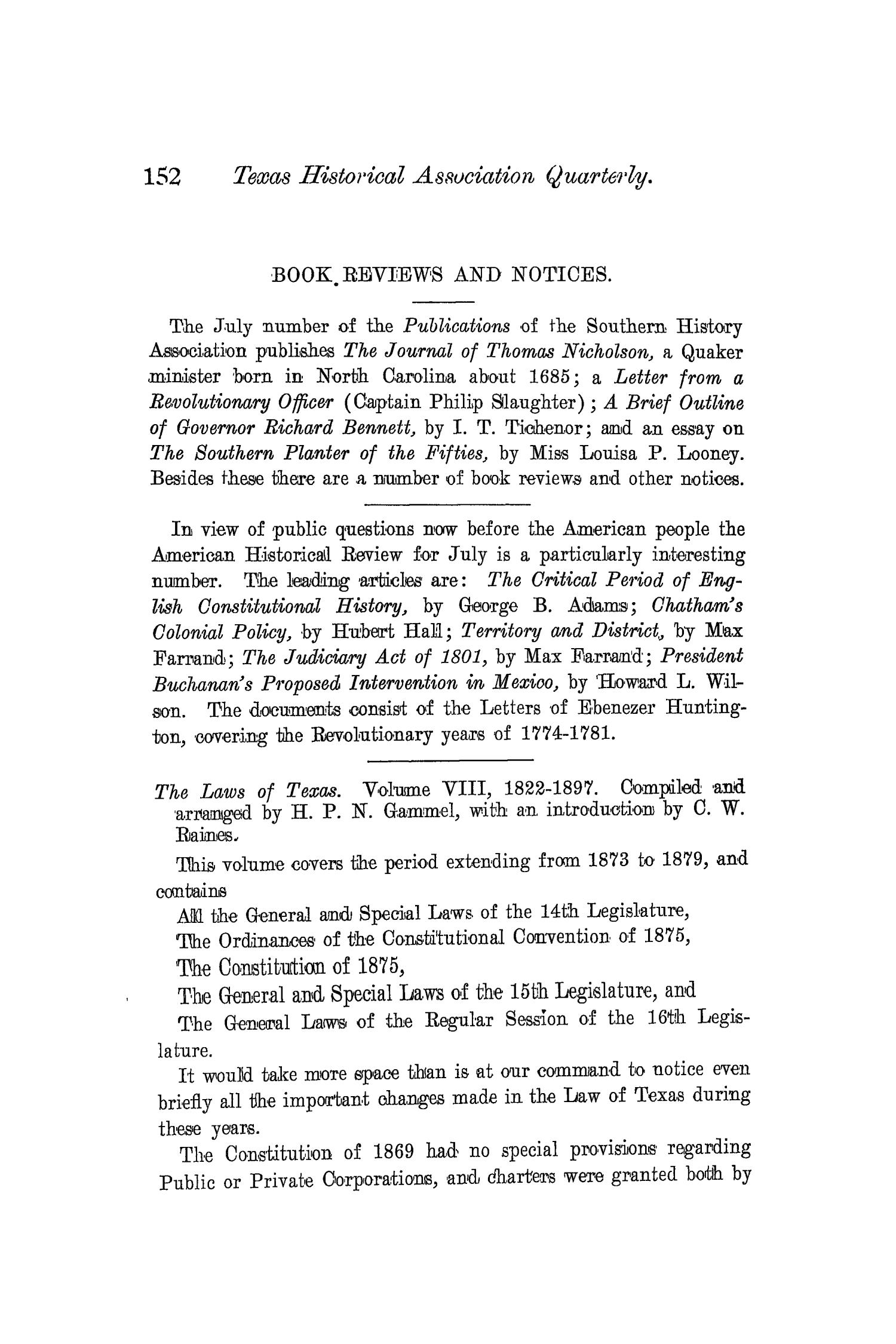 The Quarterly of the Texas State Historical Association, Volume 4, July 1900 - April, 1901                                                                                                      152