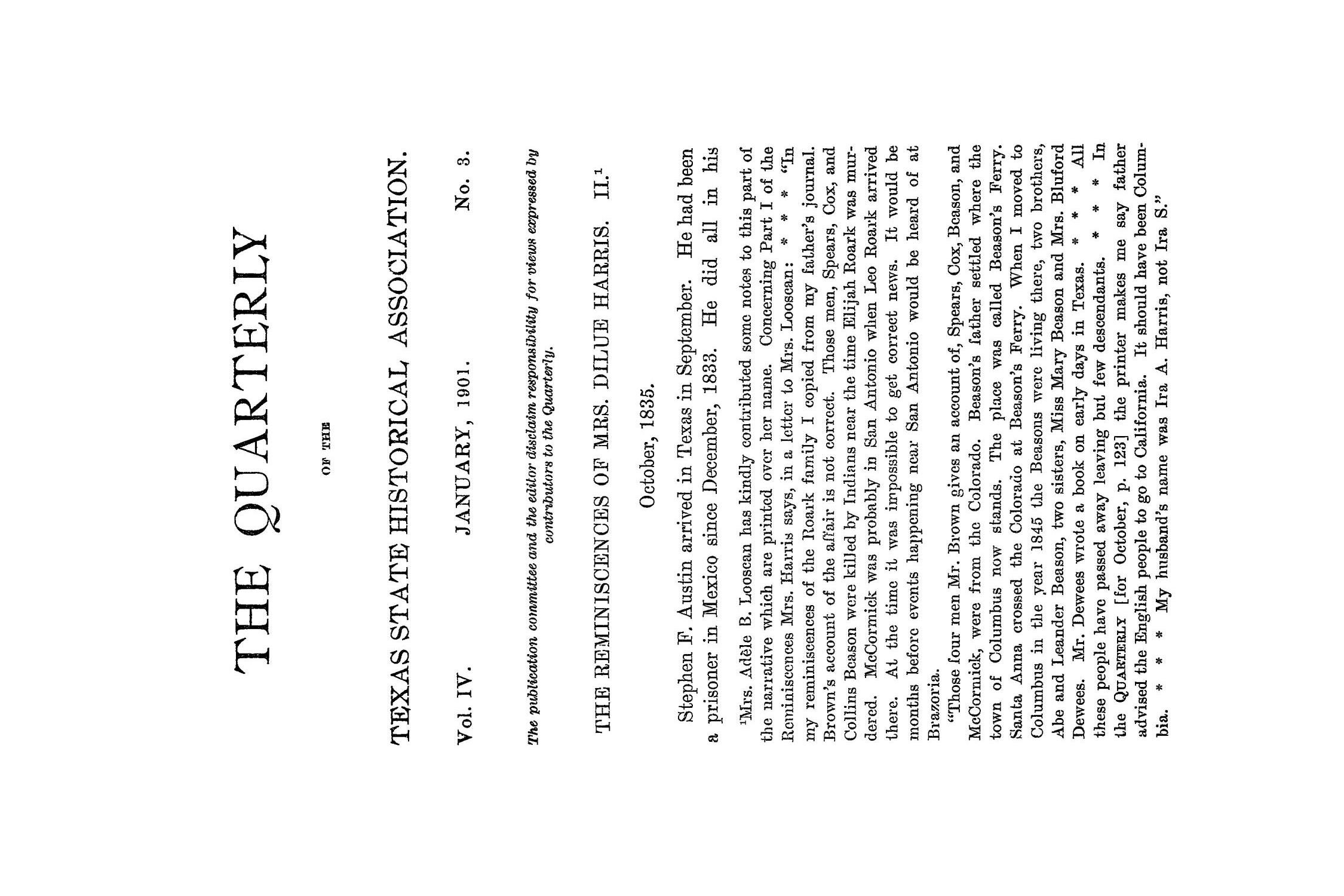 The Quarterly of the Texas State Historical Association, Volume 4, July 1900 - April, 1901                                                                                                      155