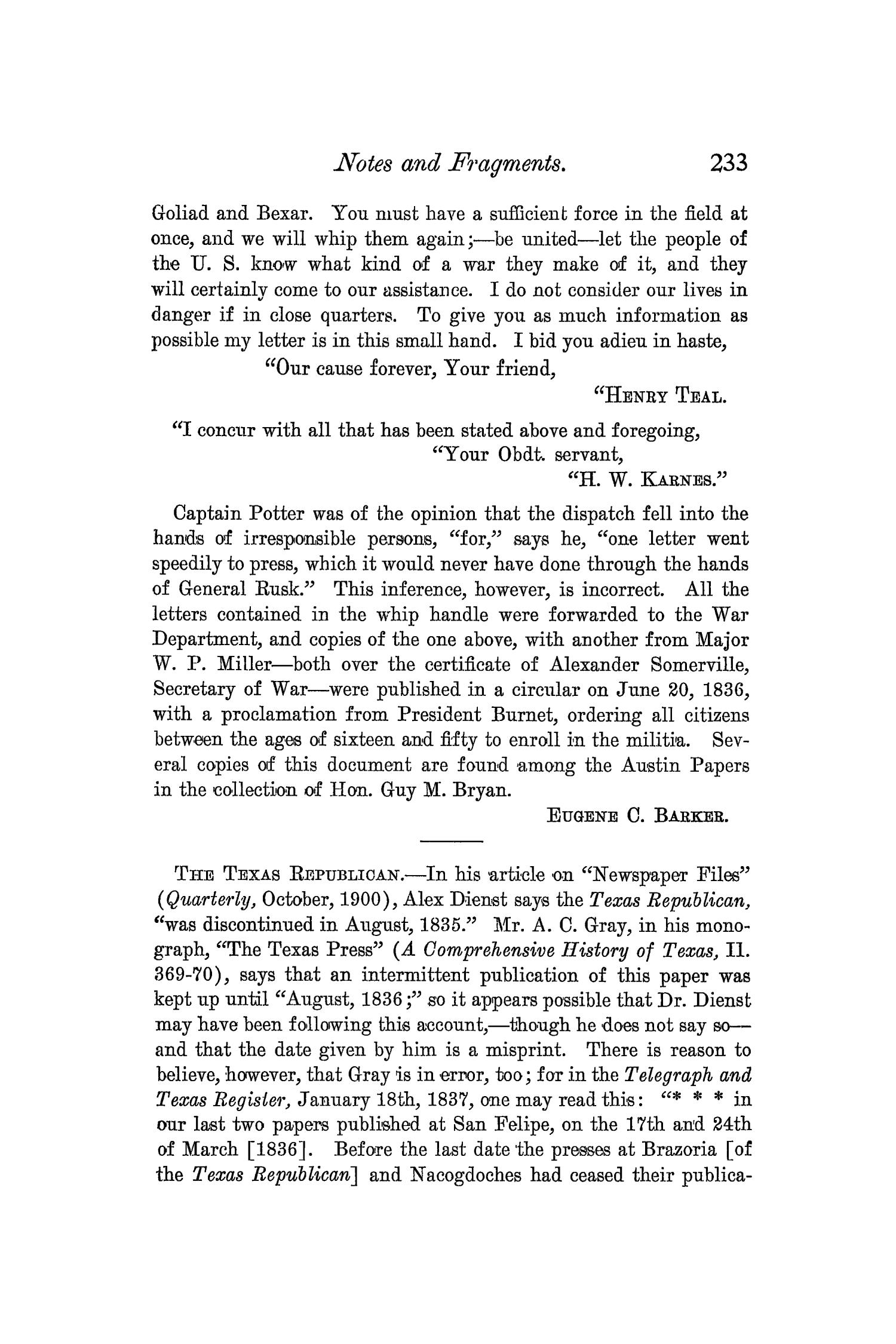 The Quarterly of the Texas State Historical Association, Volume 4, July 1900 - April, 1901                                                                                                      233