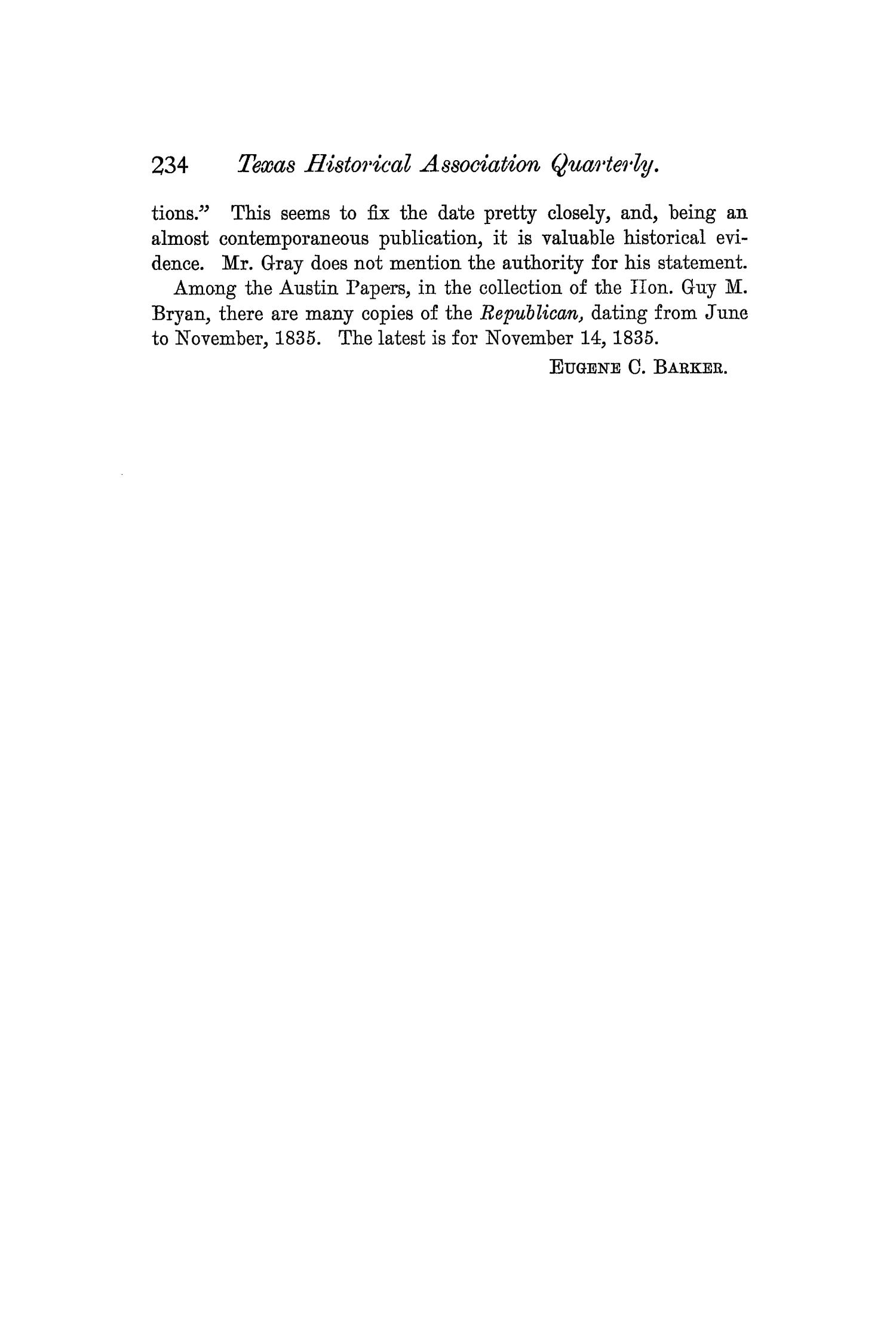 The Quarterly of the Texas State Historical Association, Volume 4, July 1900 - April, 1901                                                                                                      234