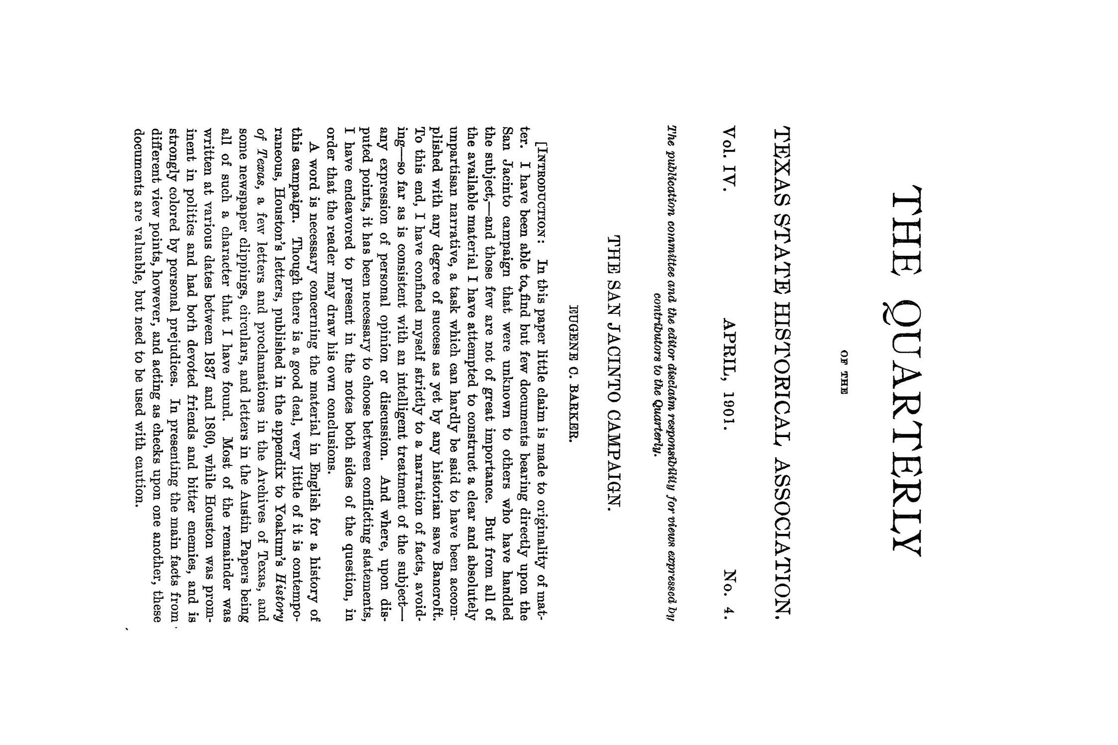 The Quarterly of the Texas State Historical Association, Volume 4, July 1900 - April, 1901                                                                                                      237
