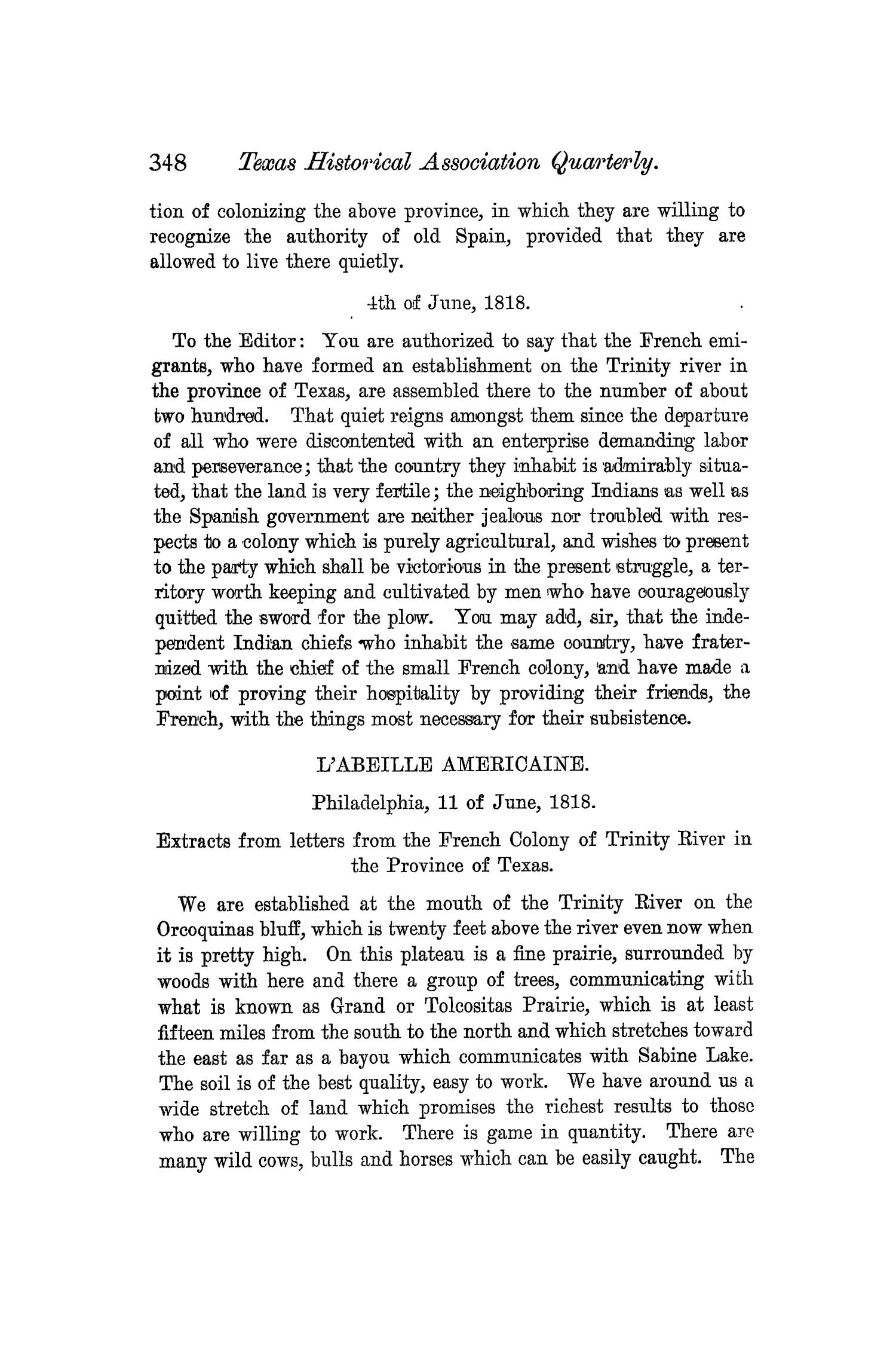 The Quarterly of the Texas State Historical Association, Volume 4, July 1900 - April, 1901                                                                                                      348