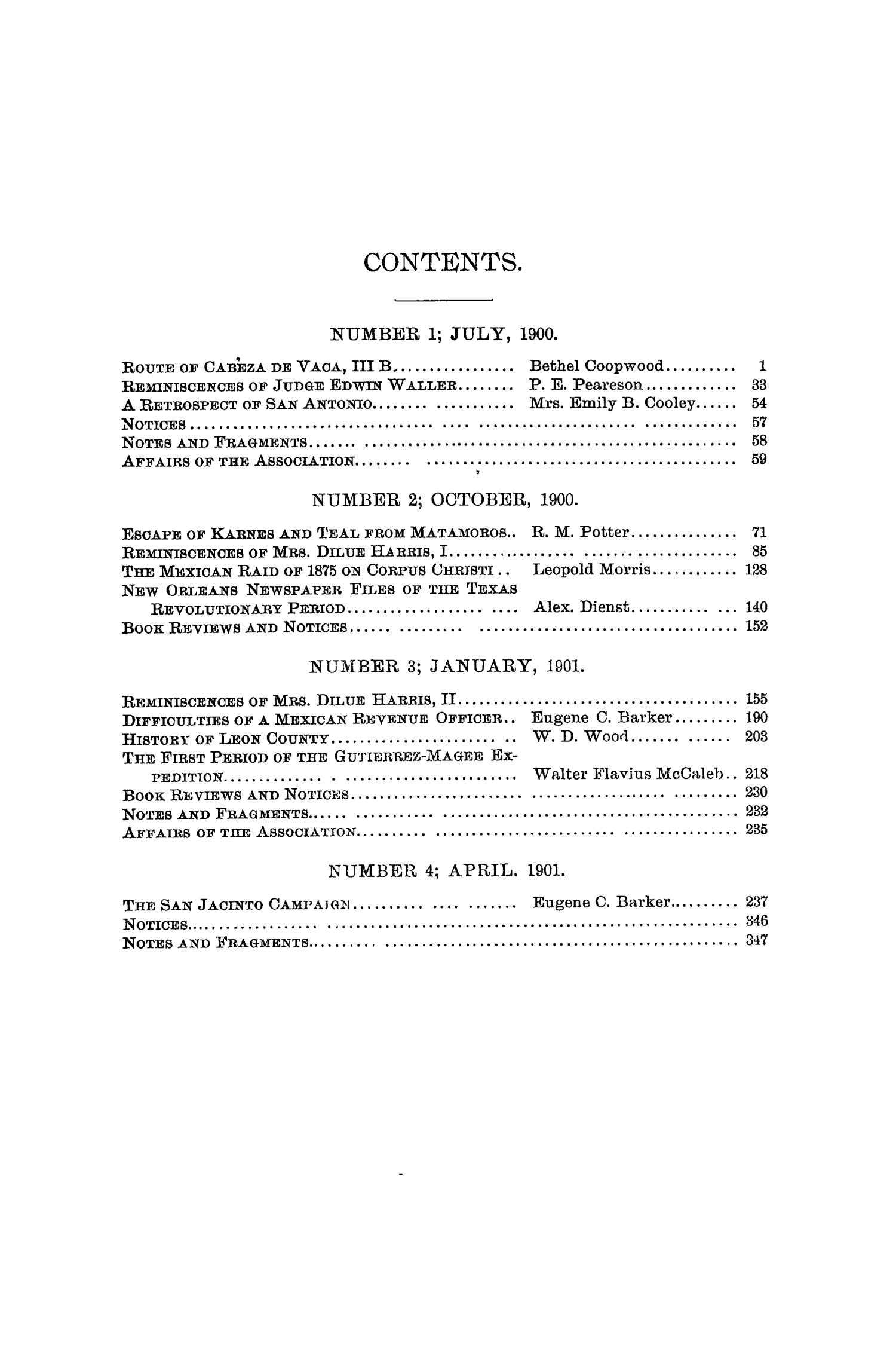 The Quarterly of the Texas State Historical Association, Volume 4, July 1900 - April, 1901                                                                                                      None