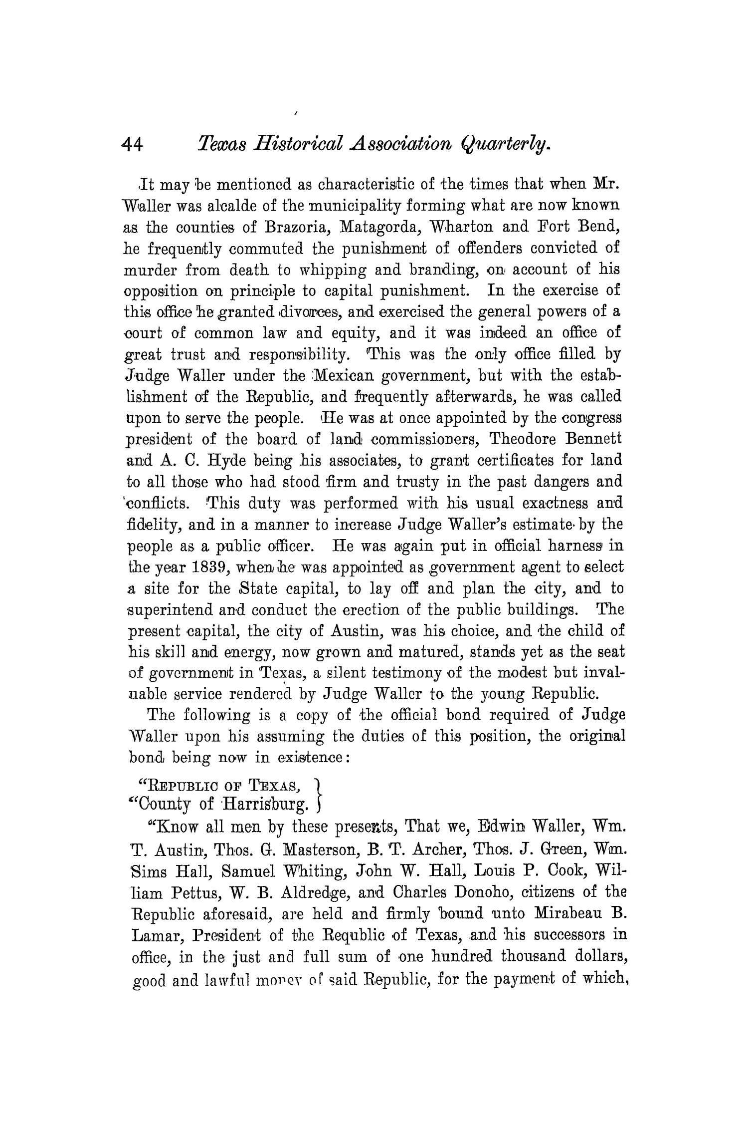 The Quarterly of the Texas State Historical Association, Volume 4, July 1900 - April, 1901                                                                                                      44