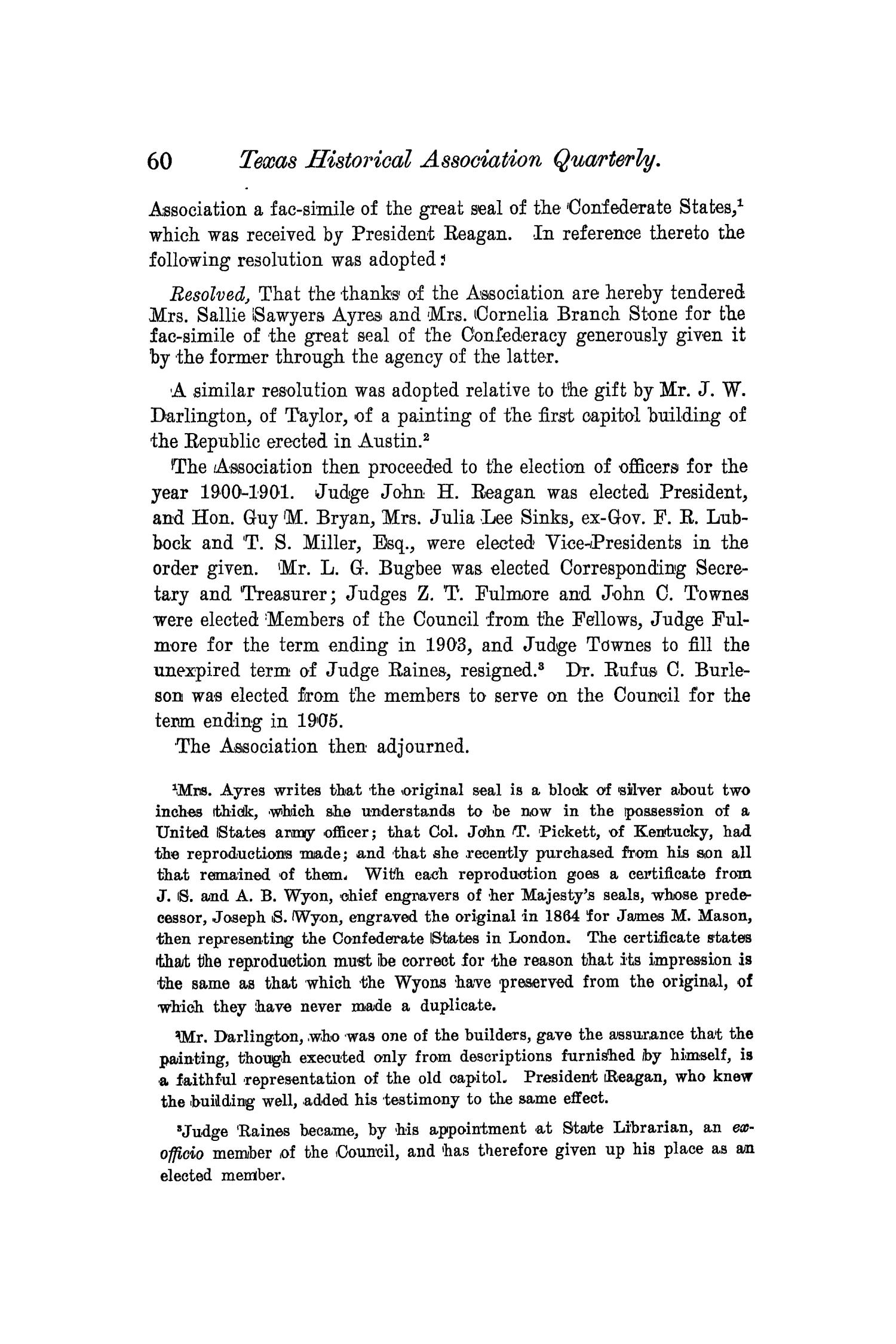 The Quarterly of the Texas State Historical Association, Volume 4, July 1900 - April, 1901                                                                                                      60
