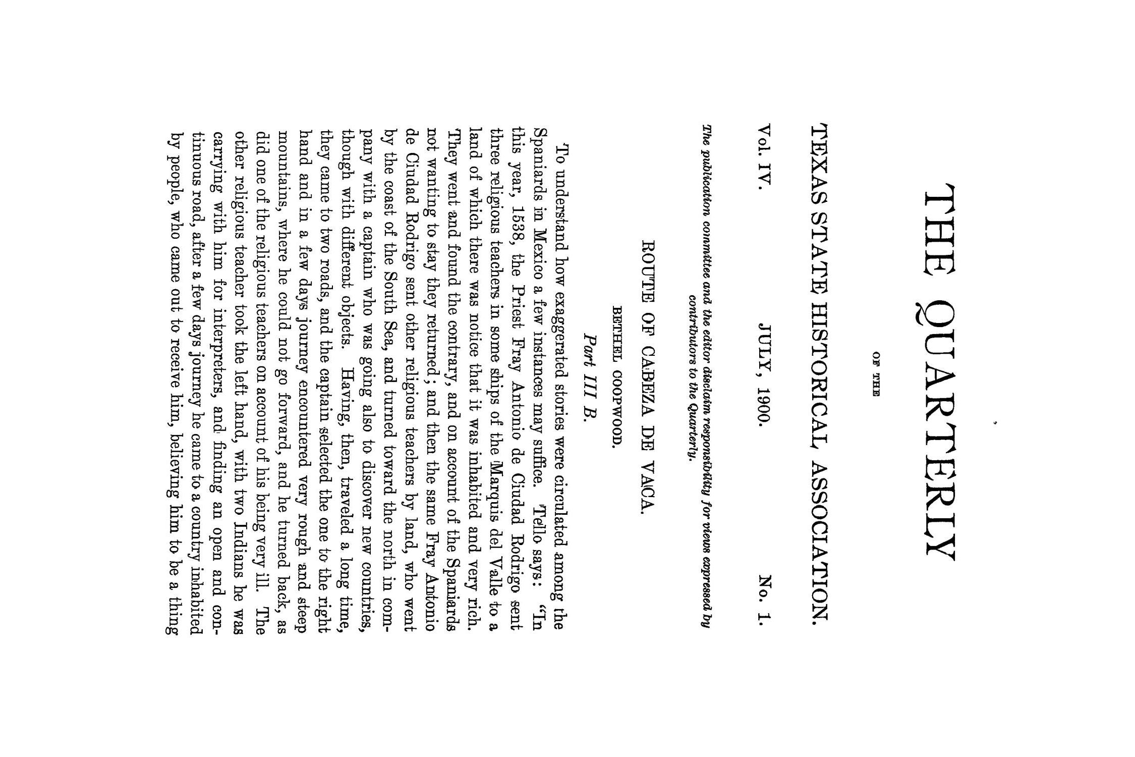 The Quarterly of the Texas State Historical Association, Volume 4, July 1900 - April, 1901                                                                                                      1