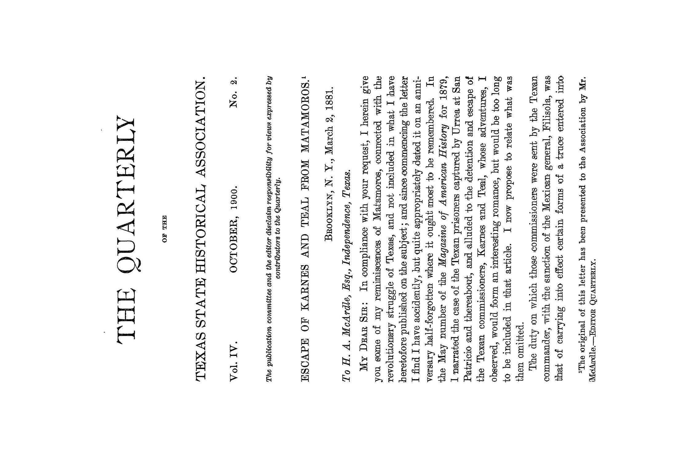 The Quarterly of the Texas State Historical Association, Volume 4, July 1900 - April, 1901                                                                                                      71