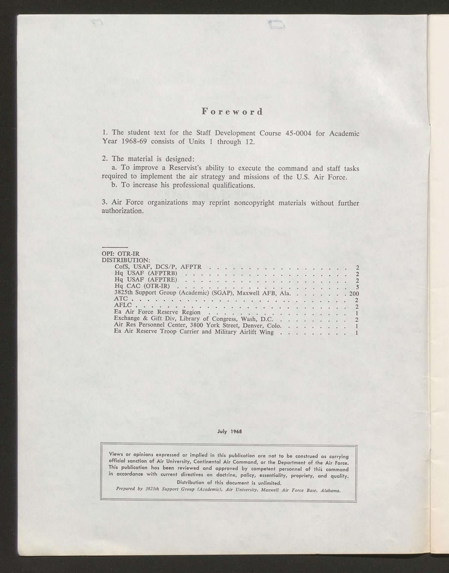 Academic Year 1968-1969, Unit 4: The Defense/Industry Relationship                                                                                                      Front Inside