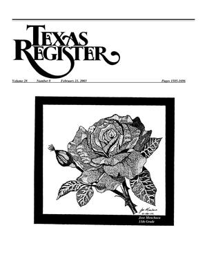 Primary view of object titled 'Texas Register, Volume 28, Number 8, Pages 1585-1696, February 21, 2003'.