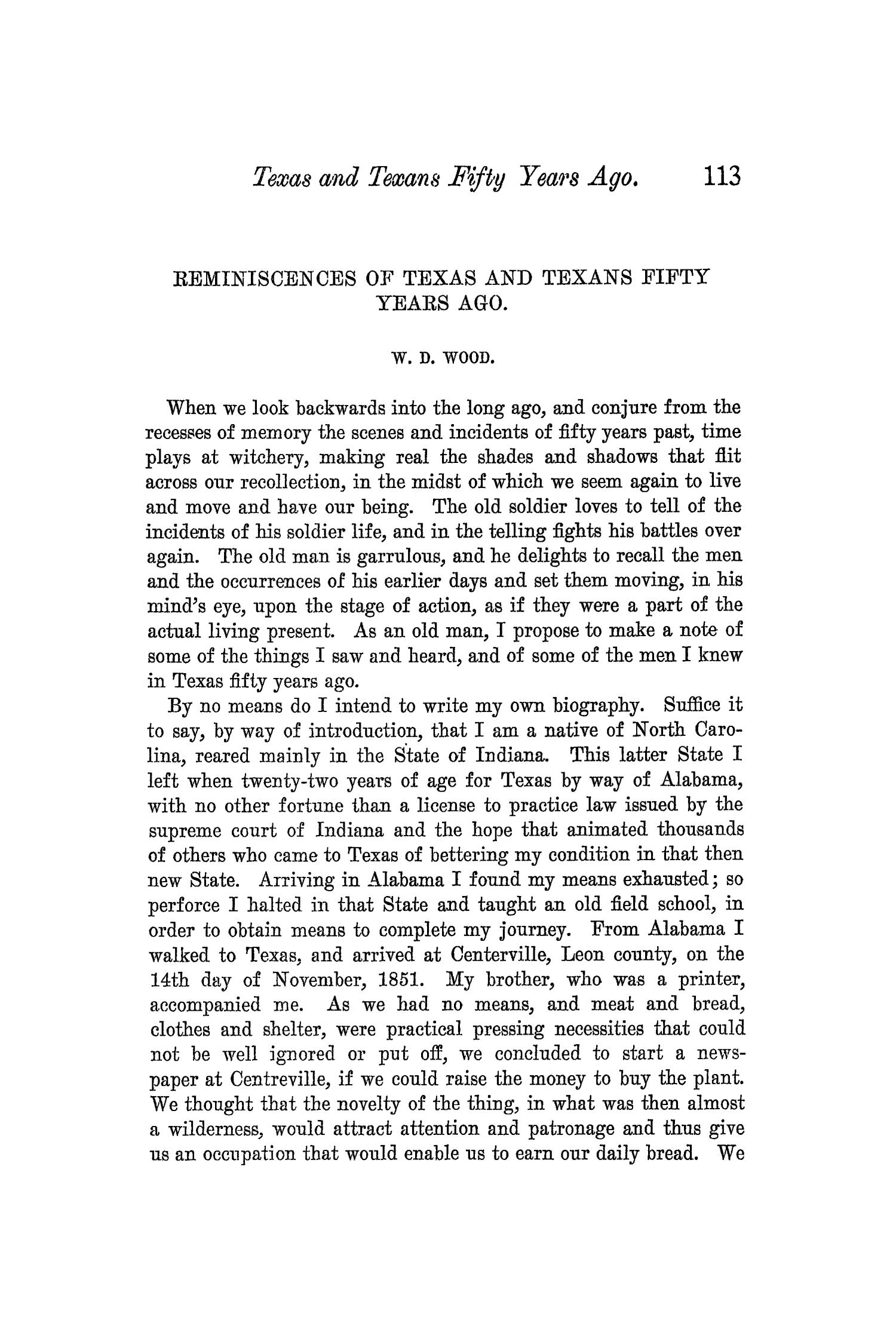 The Quarterly of the Texas State Historical Association, Volume 5, July 1901 - April, 1902                                                                                                      113