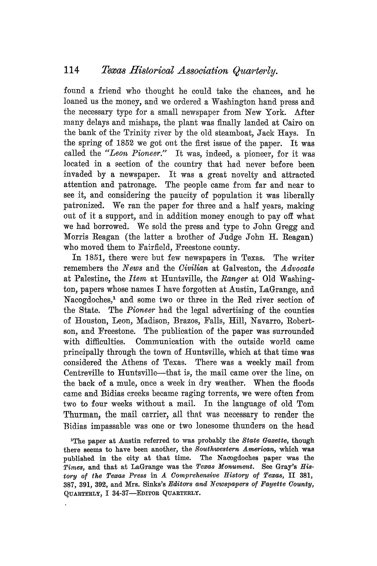 The Quarterly of the Texas State Historical Association, Volume 5, July 1901 - April, 1902                                                                                                      114