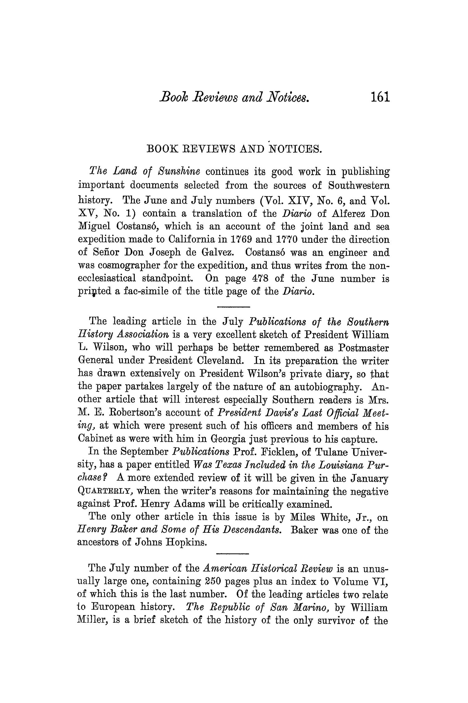 The Quarterly of the Texas State Historical Association, Volume 5, July 1901 - April, 1902                                                                                                      161