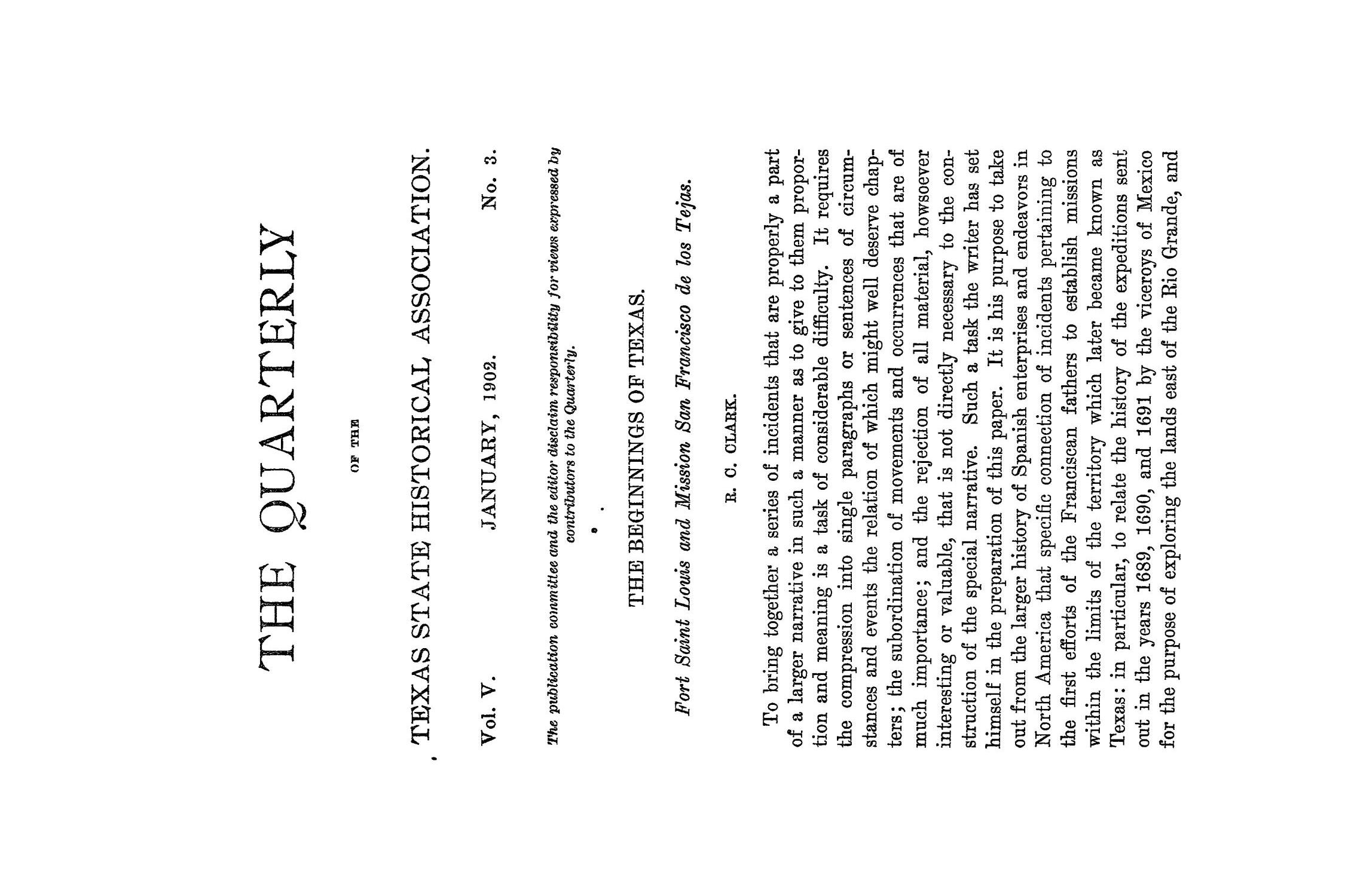 The Quarterly of the Texas State Historical Association, Volume 5, July 1901 - April, 1902                                                                                                      171
