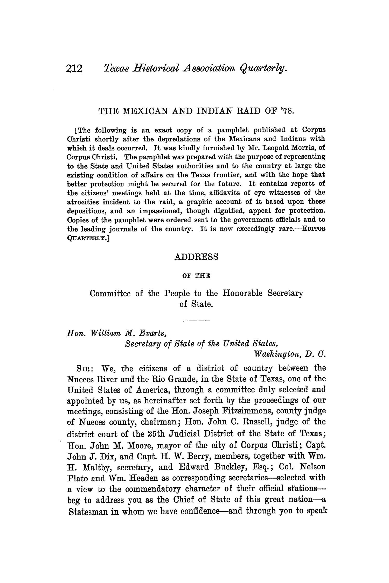 The Quarterly of the Texas State Historical Association, Volume 5, July 1901 - April, 1902                                                                                                      212