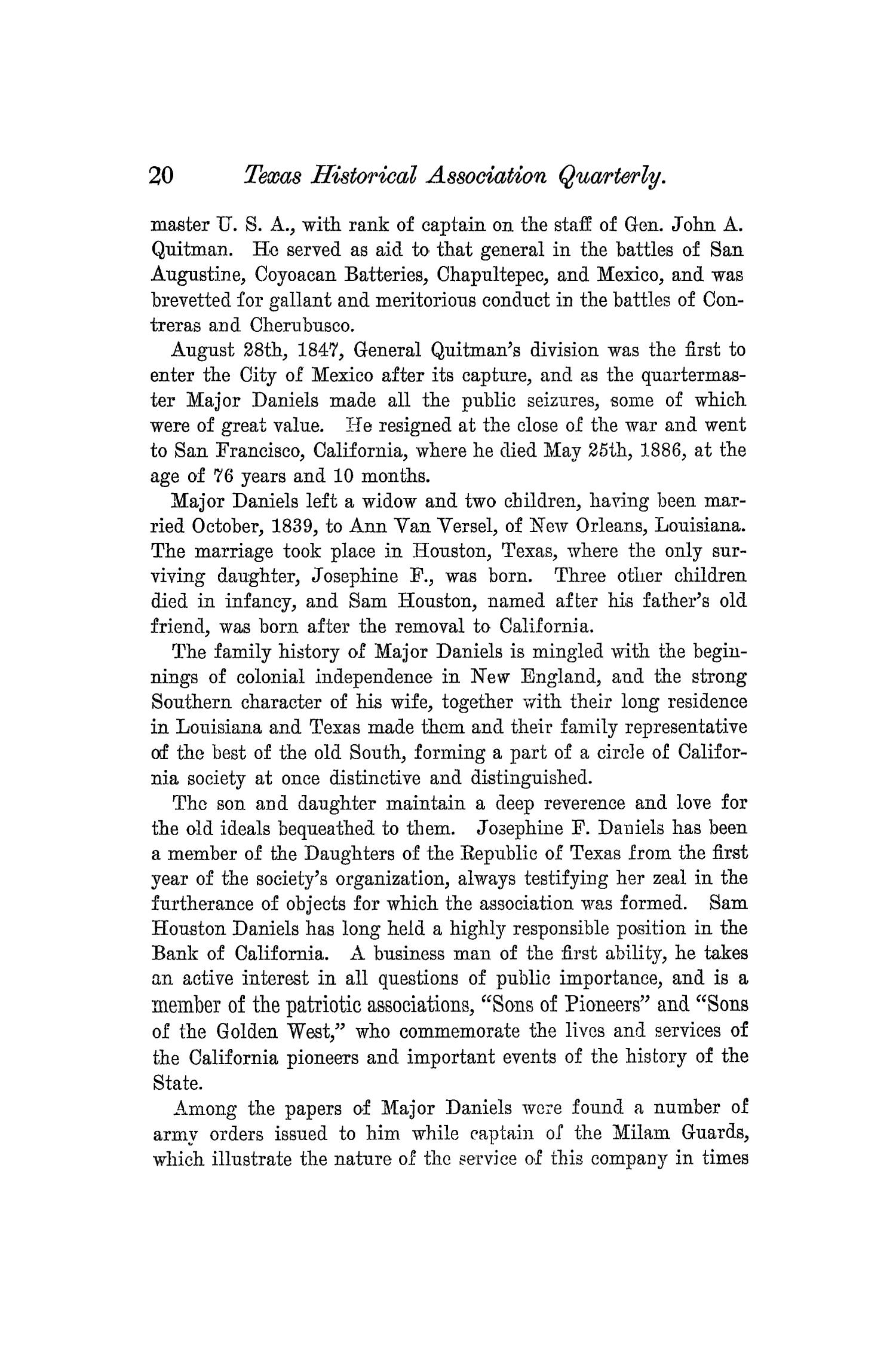 The Quarterly of the Texas State Historical Association, Volume 5, July 1901 - April, 1902                                                                                                      20